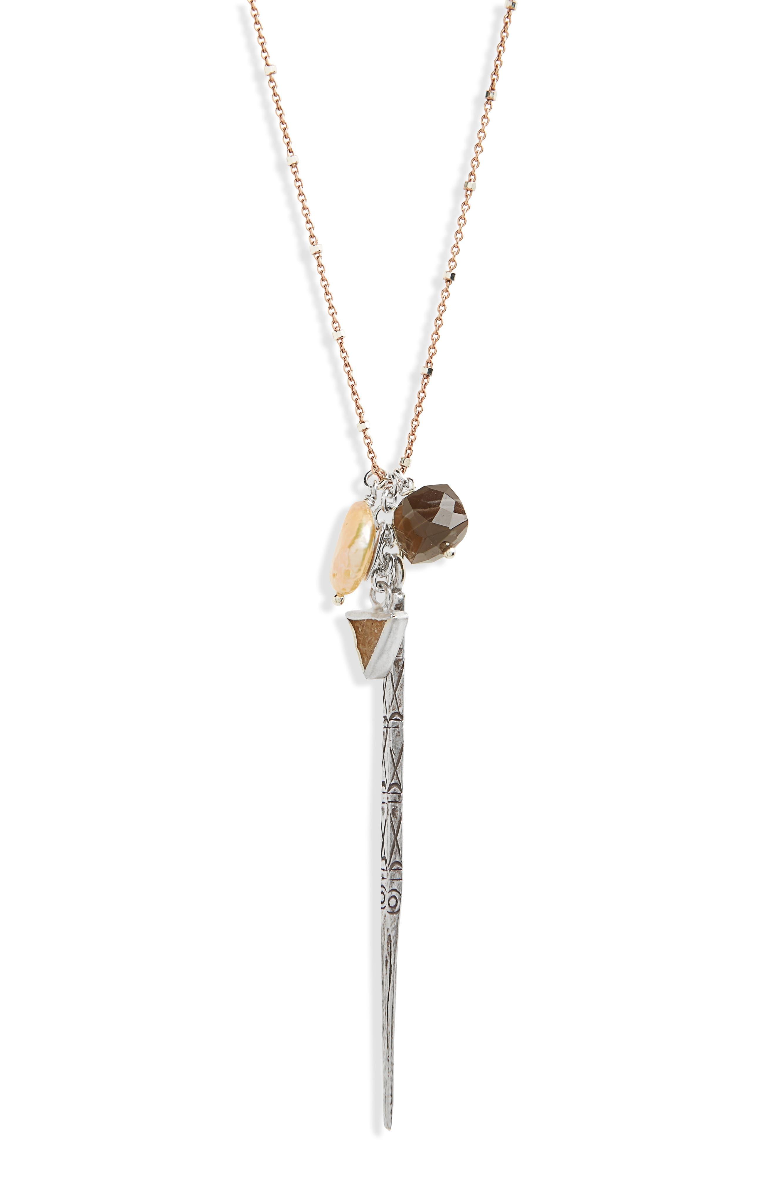 Semiprecious Stone Pendant Necklace,                         Main,                         color, Pink