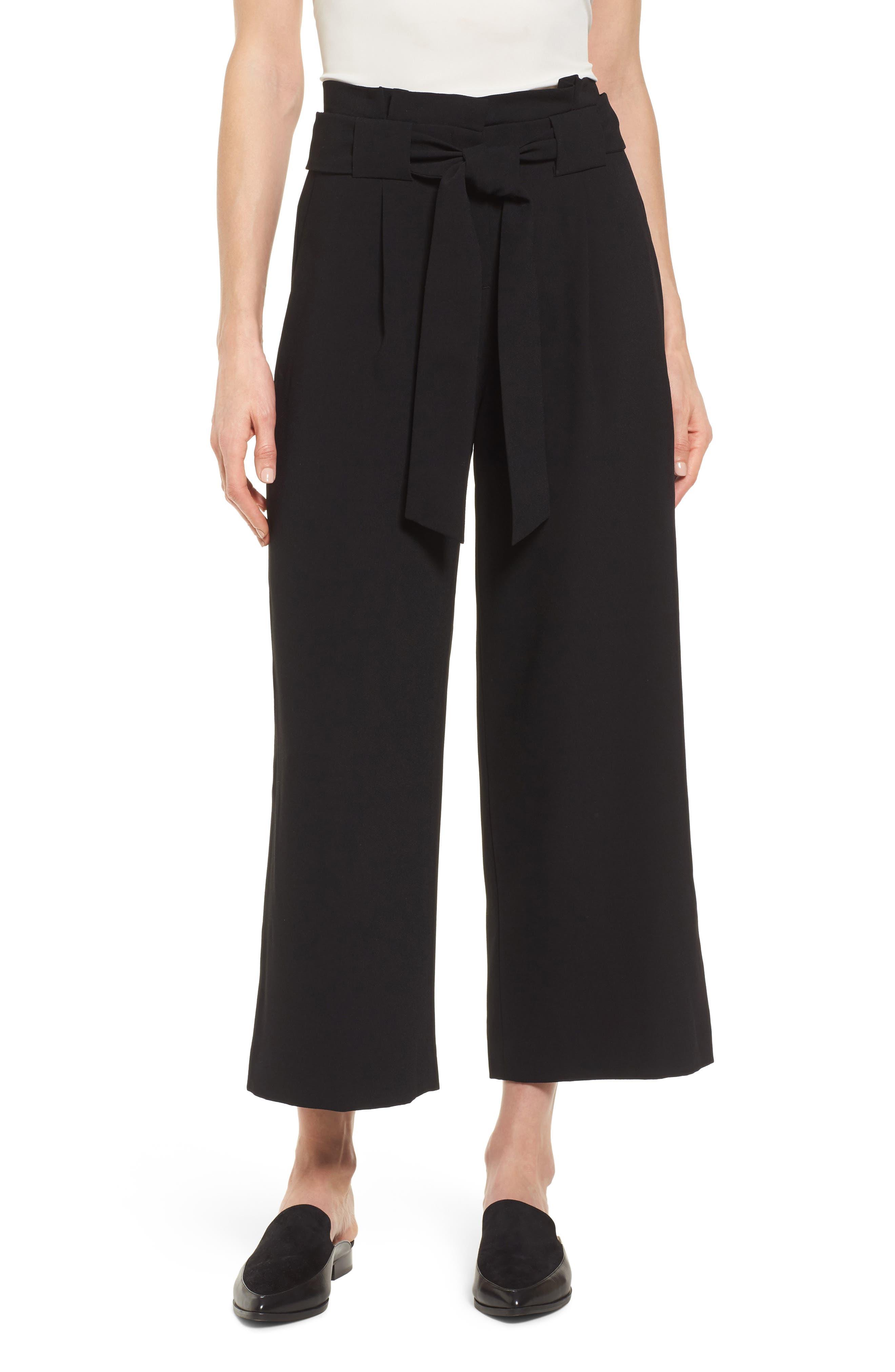 Belted Wide Leg Crop Pants,                             Main thumbnail 1, color,                             Black