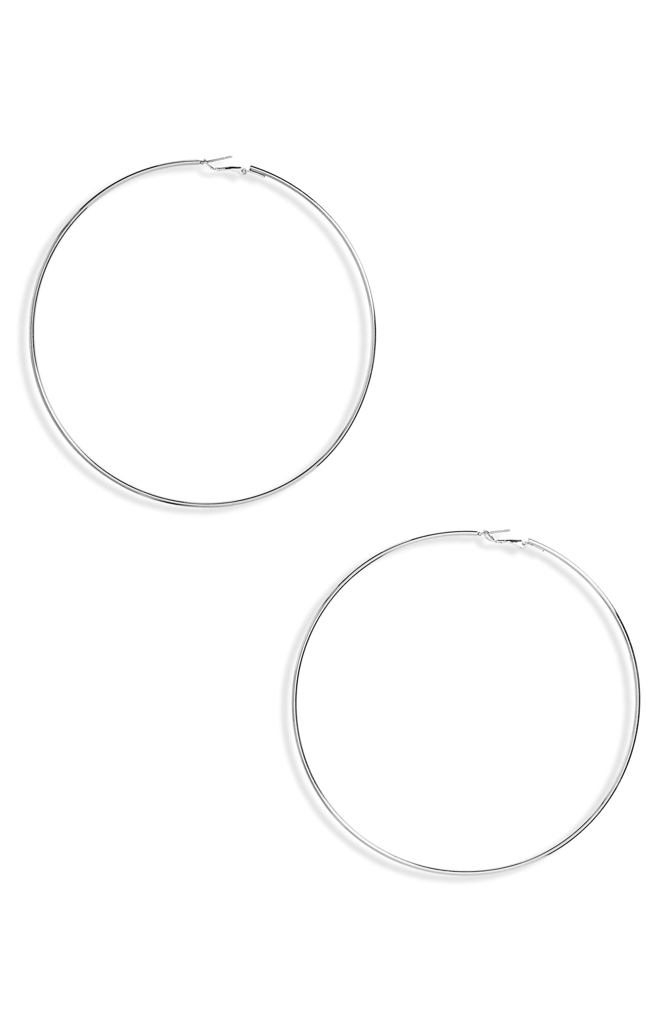 Alternate Image 1 Selected - Topshop Fine Loop Hoop Earrings