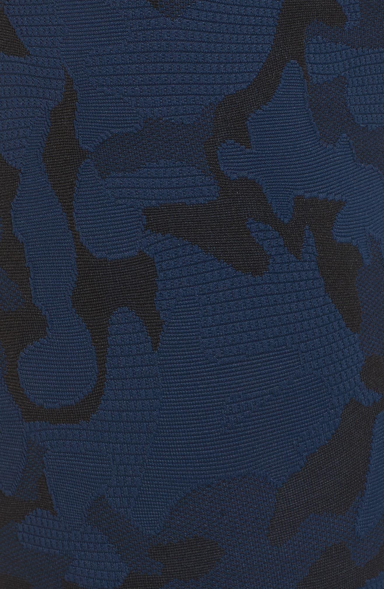 Knockout Camo Crop Leggings,                             Alternate thumbnail 6, color,                             Midnight Blue/ Black