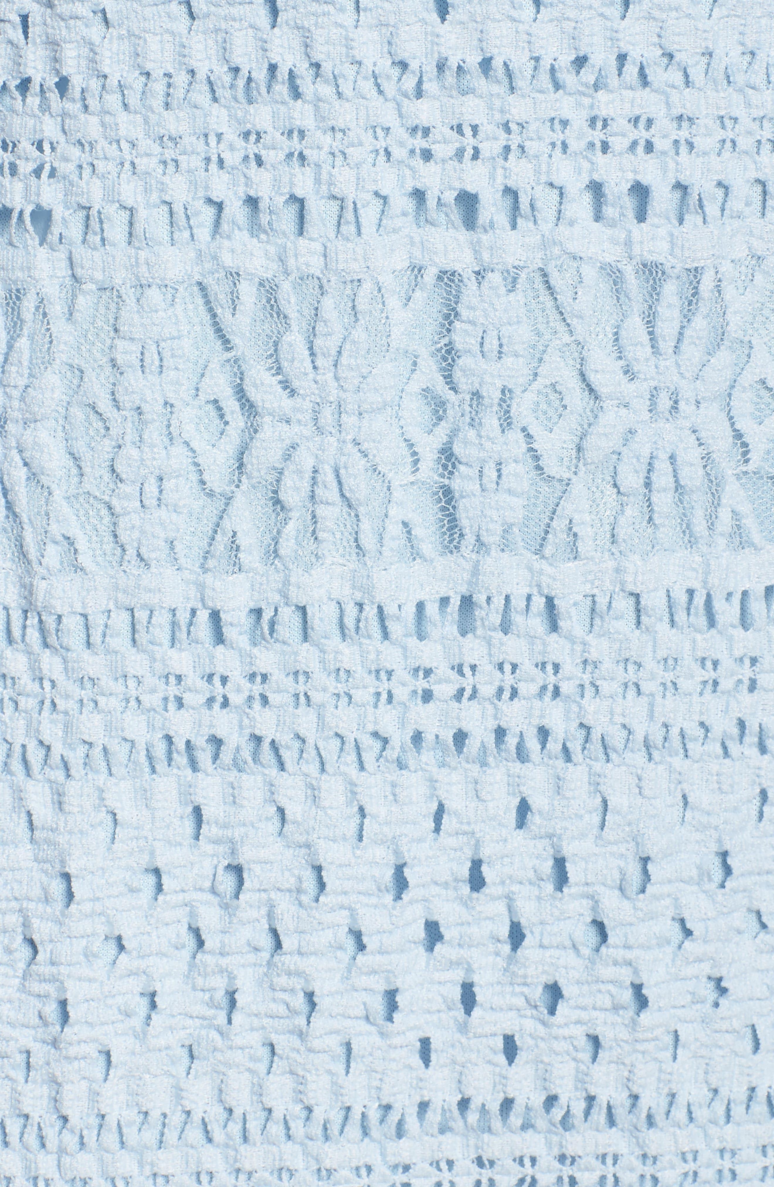 Ellie Lace Popover Midi Dress,                             Alternate thumbnail 5, color,                             Celestial Blue