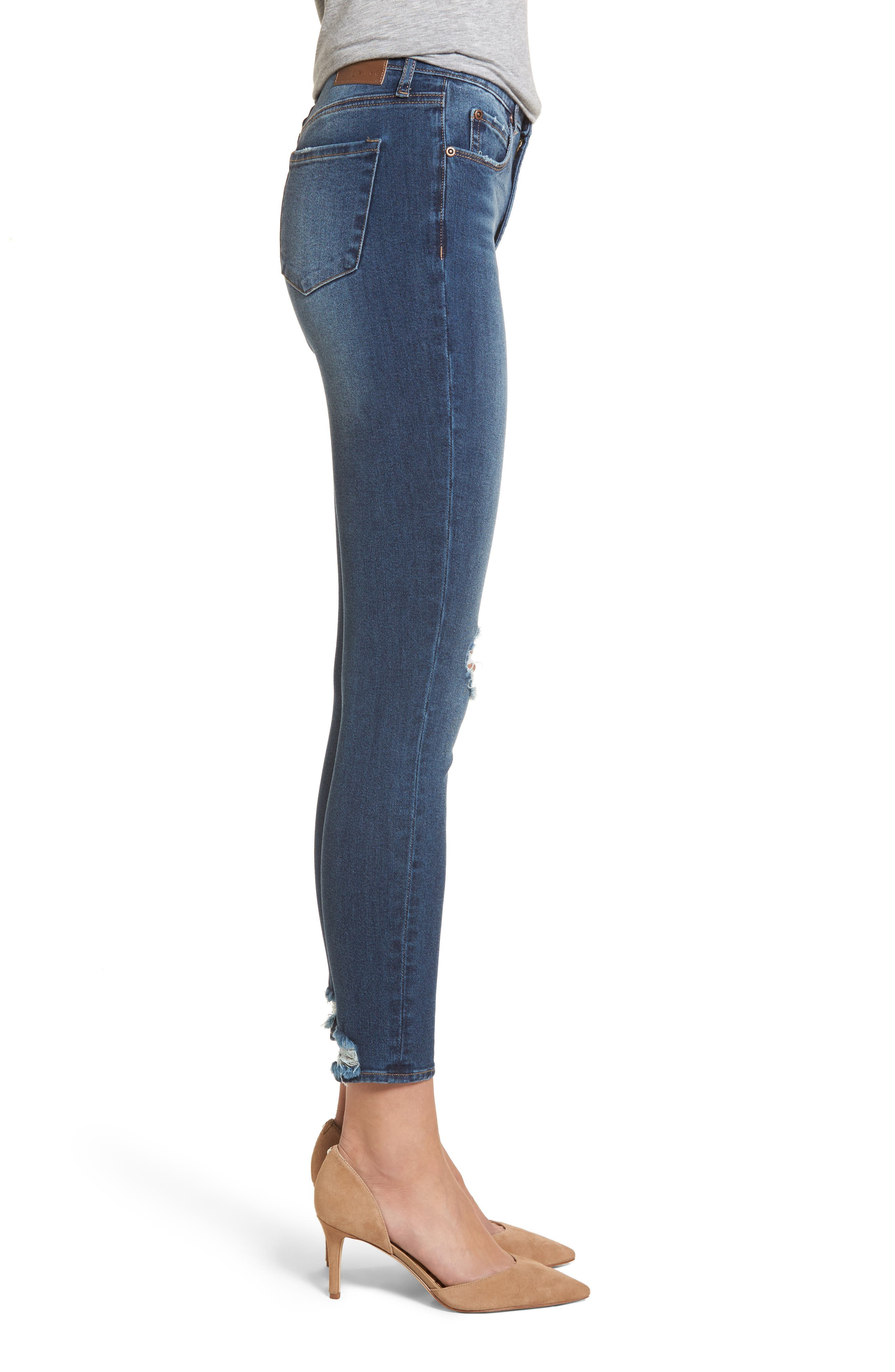 Distressed Skinny Ankle Jeans,                             Alternate thumbnail 3, color,                             Medium Wash