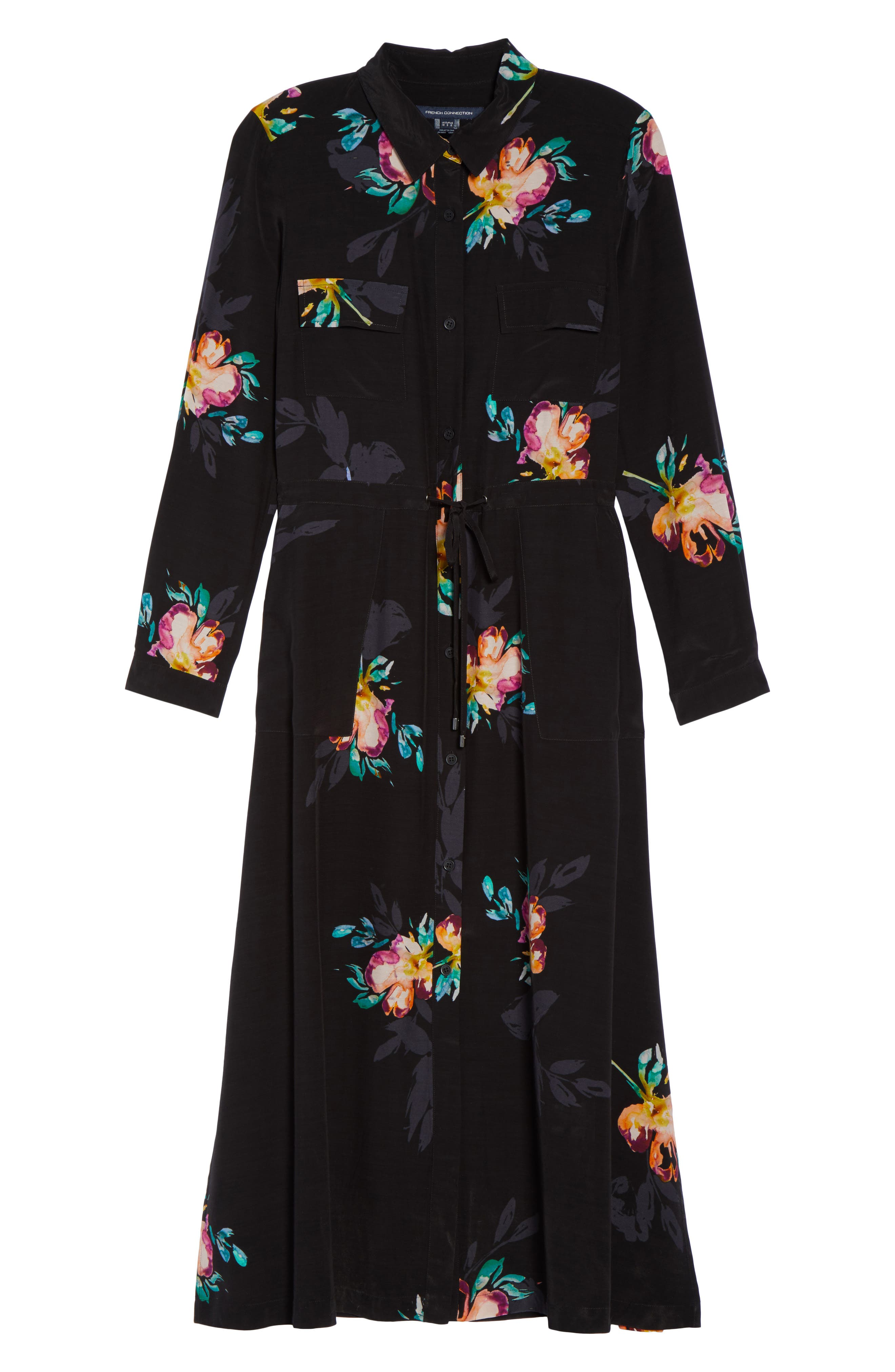 Delphine Midi Shirtdress,                             Alternate thumbnail 6, color,                             Black Multi