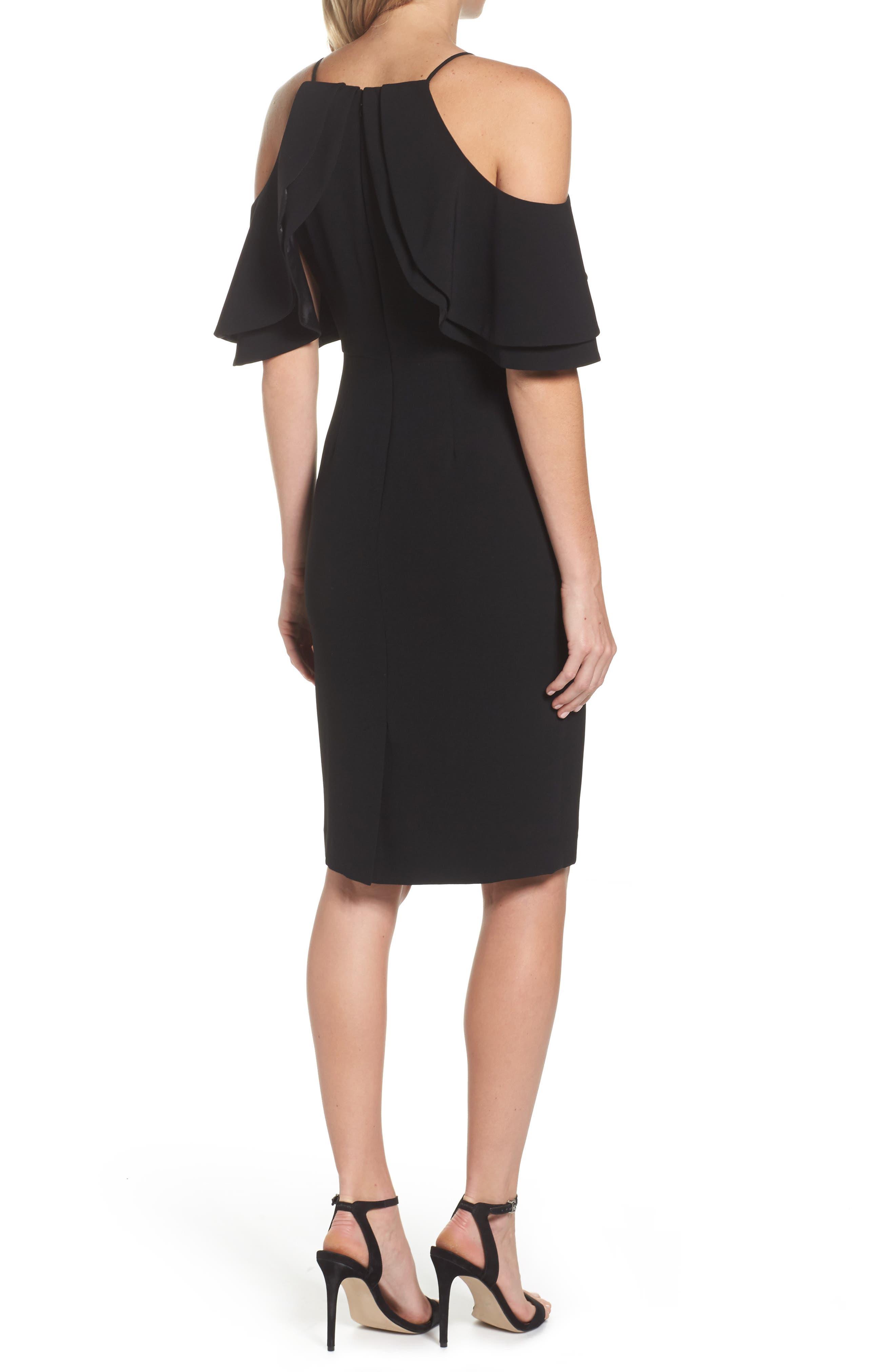 Double Ruffle Cold Shoulder Sheath Dress,                             Alternate thumbnail 2, color,                             Black