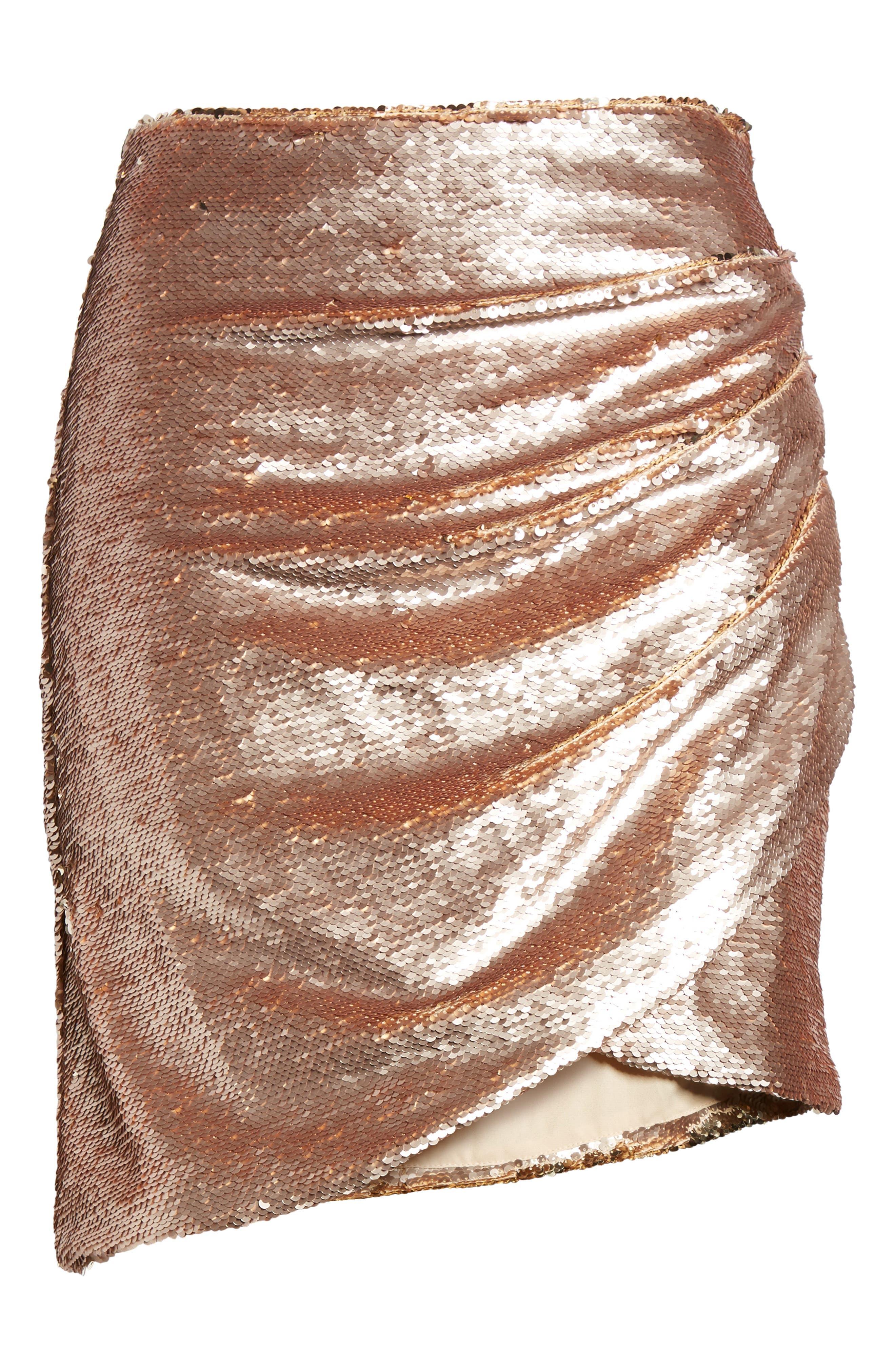 Tresor Sequin Miniskirt,                             Alternate thumbnail 6, color,                             Champagne Blush
