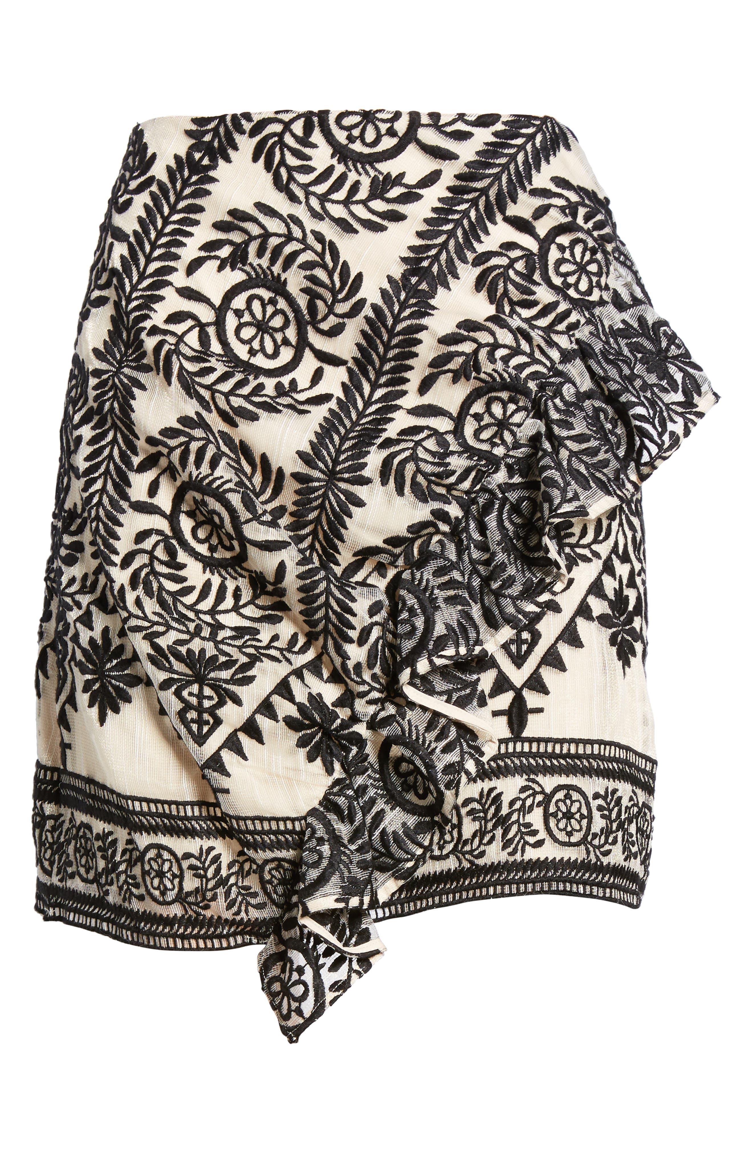 Soiree Ruffle Miniskirt,                             Alternate thumbnail 7, color,                             Black