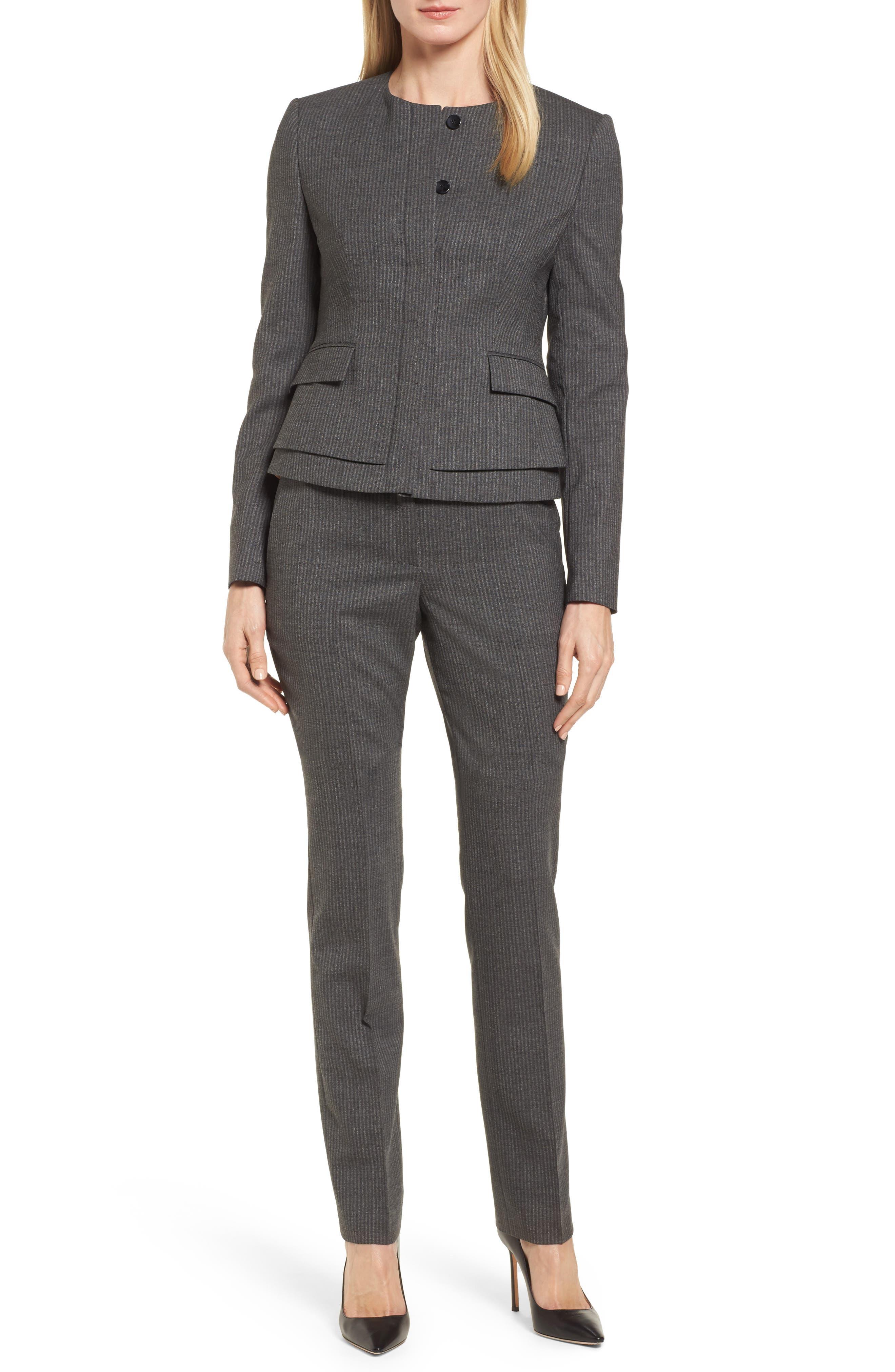 Jasyma Stripe Wool Suit Jacket,                             Alternate thumbnail 7, color,                             Dark Grey Fantasy