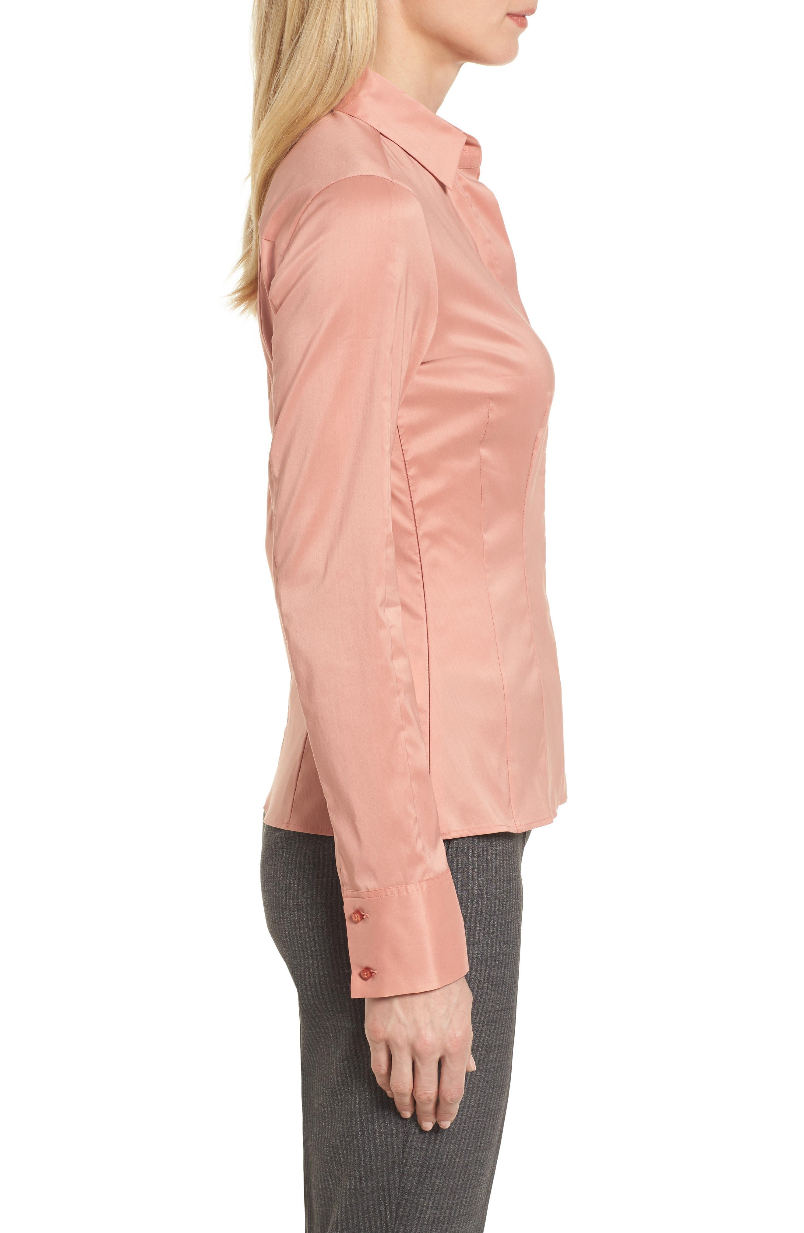Bashina Fitted Stretch Poplin Shirt,                             Alternate thumbnail 3, color,                             Sand Rose