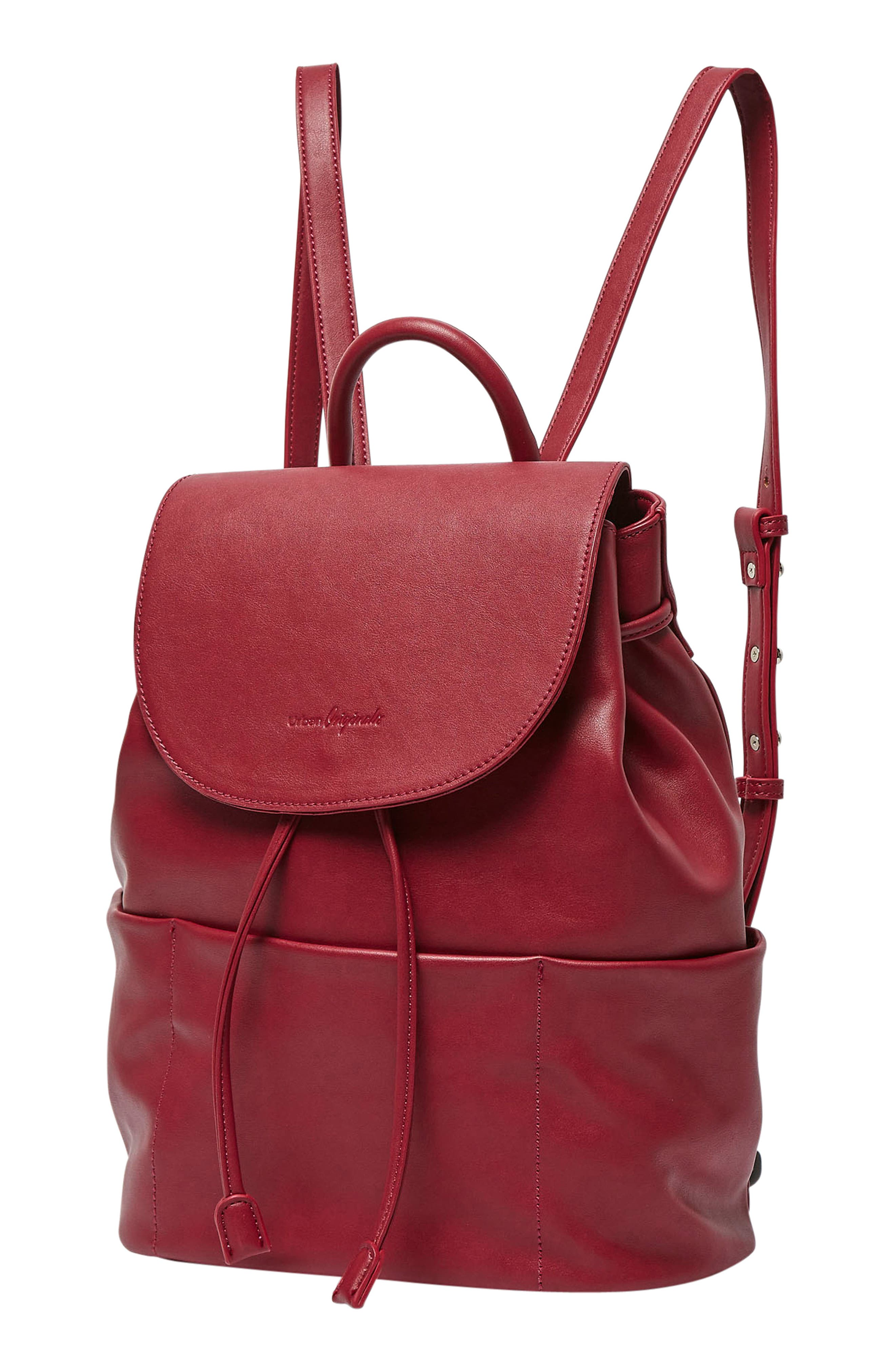 Splendour Vegan Leather Backpack,                             Alternate thumbnail 3, color,                             Cranberry