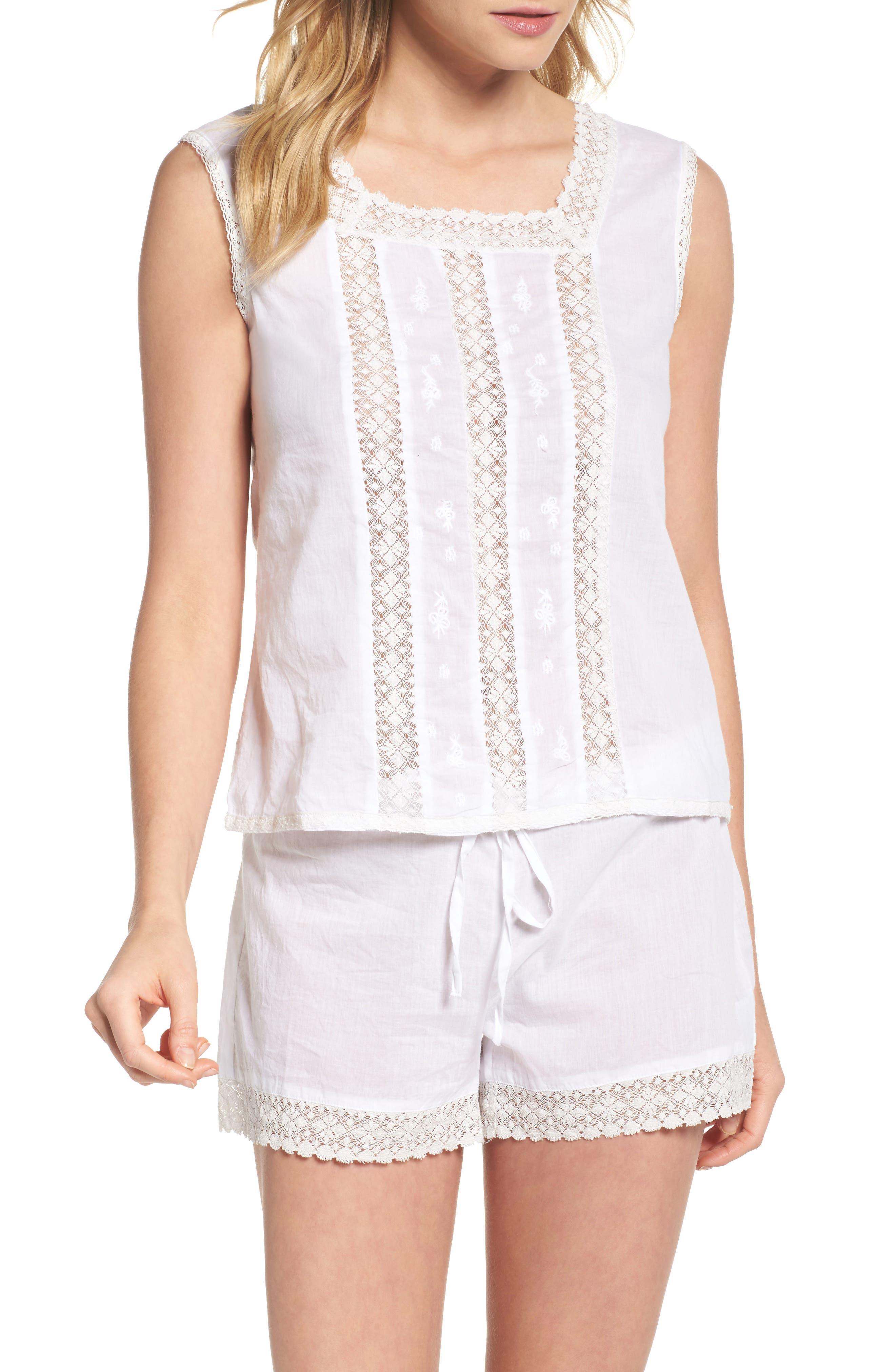 Lace Trim Sleep Shorts,                             Alternate thumbnail 5, color,                             White