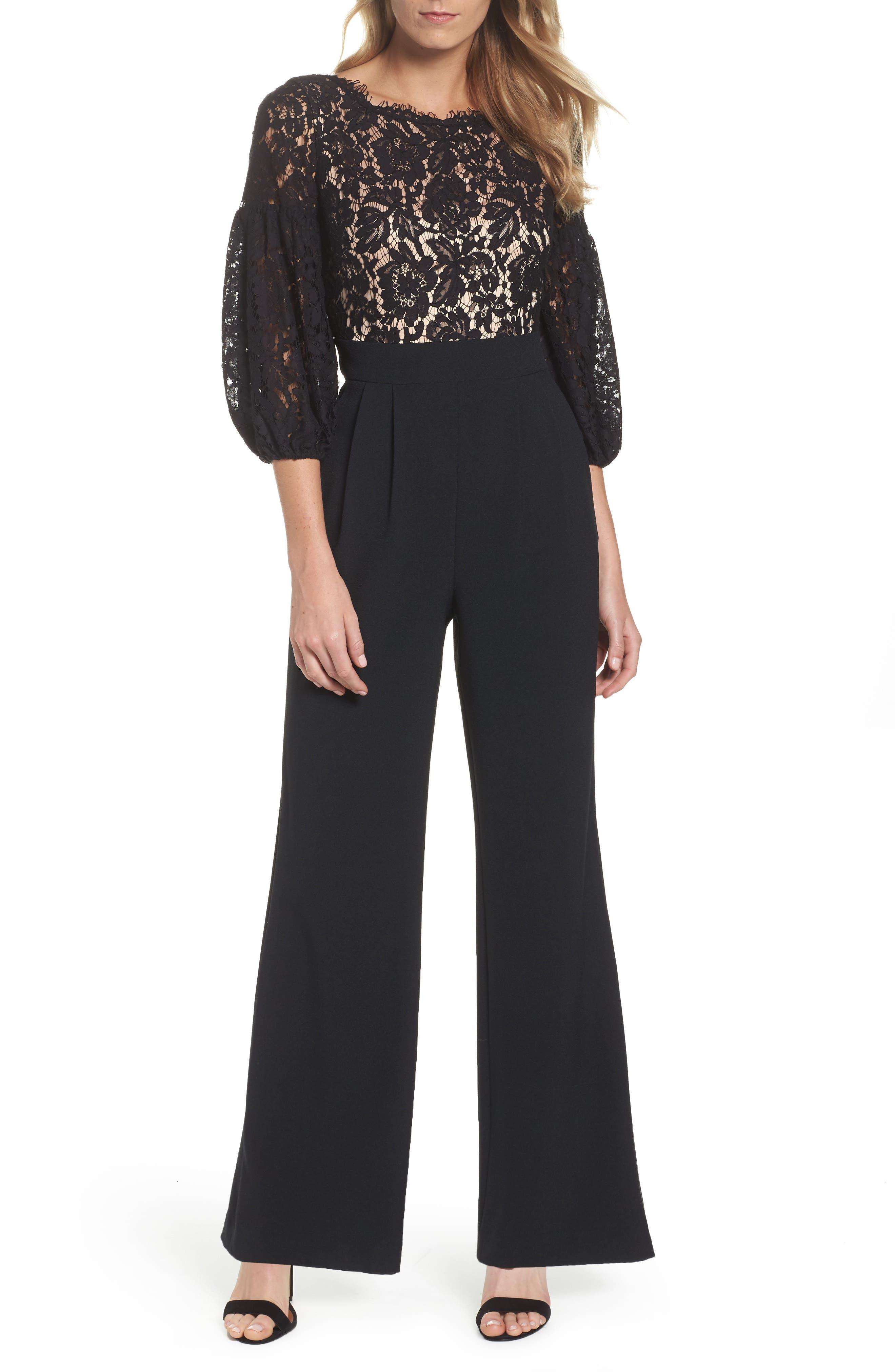 Lace & Crepe Jumpsuit,                             Main thumbnail 1, color,                             Black