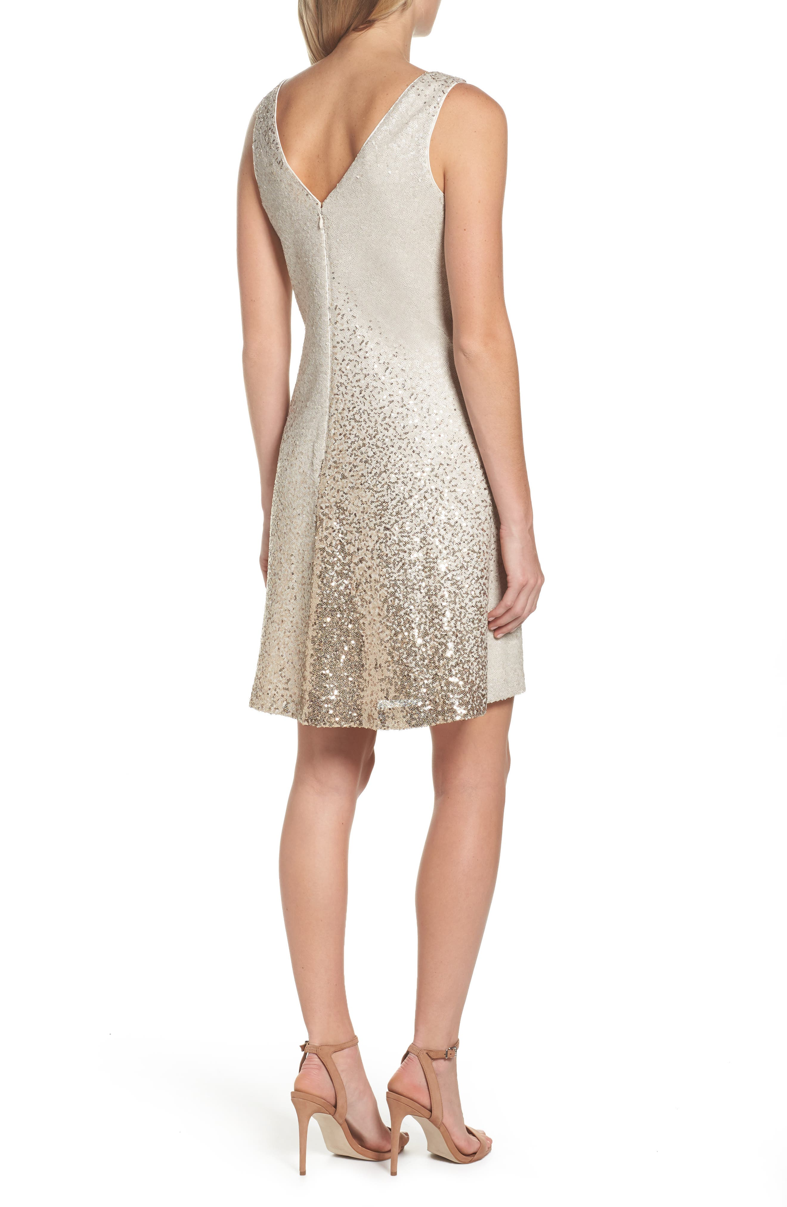 Sequin Shift Dress,                             Alternate thumbnail 2, color,                             Ivory/ Gold