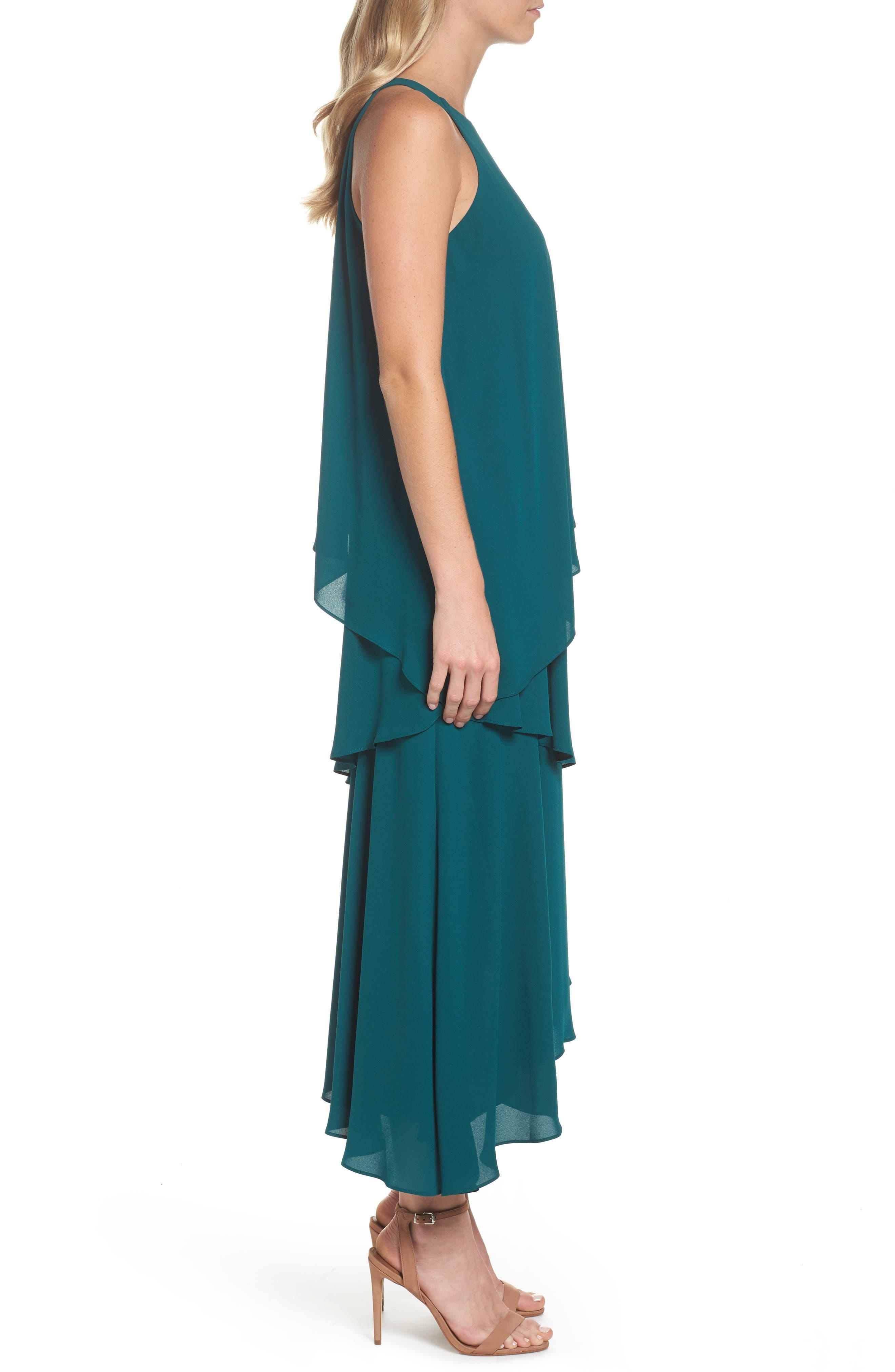 Georgette Asymmetric Dress,                             Alternate thumbnail 3, color,                             Hunter