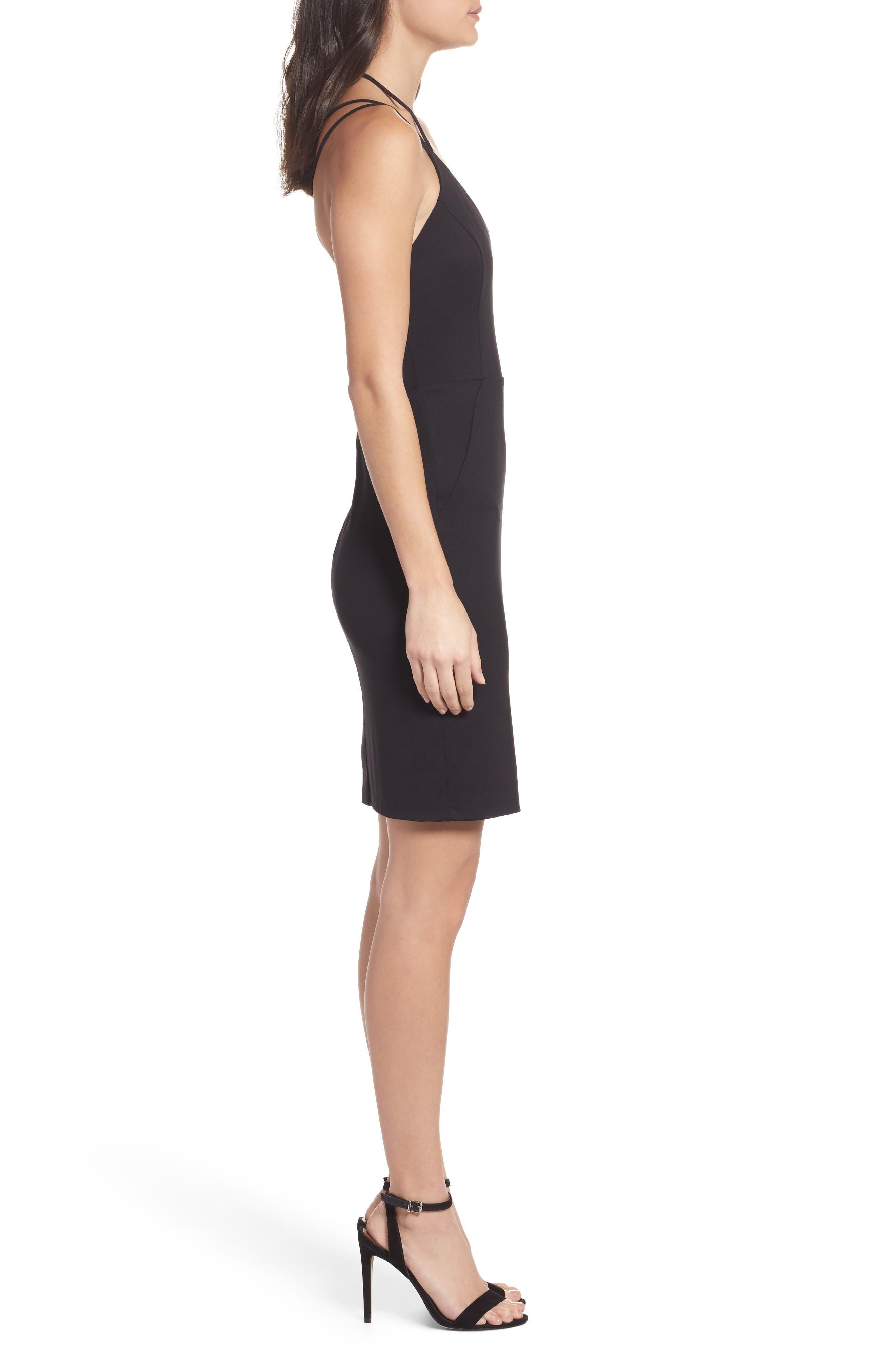 Strappy Body-Con Dress,                             Alternate thumbnail 3, color,                             Black