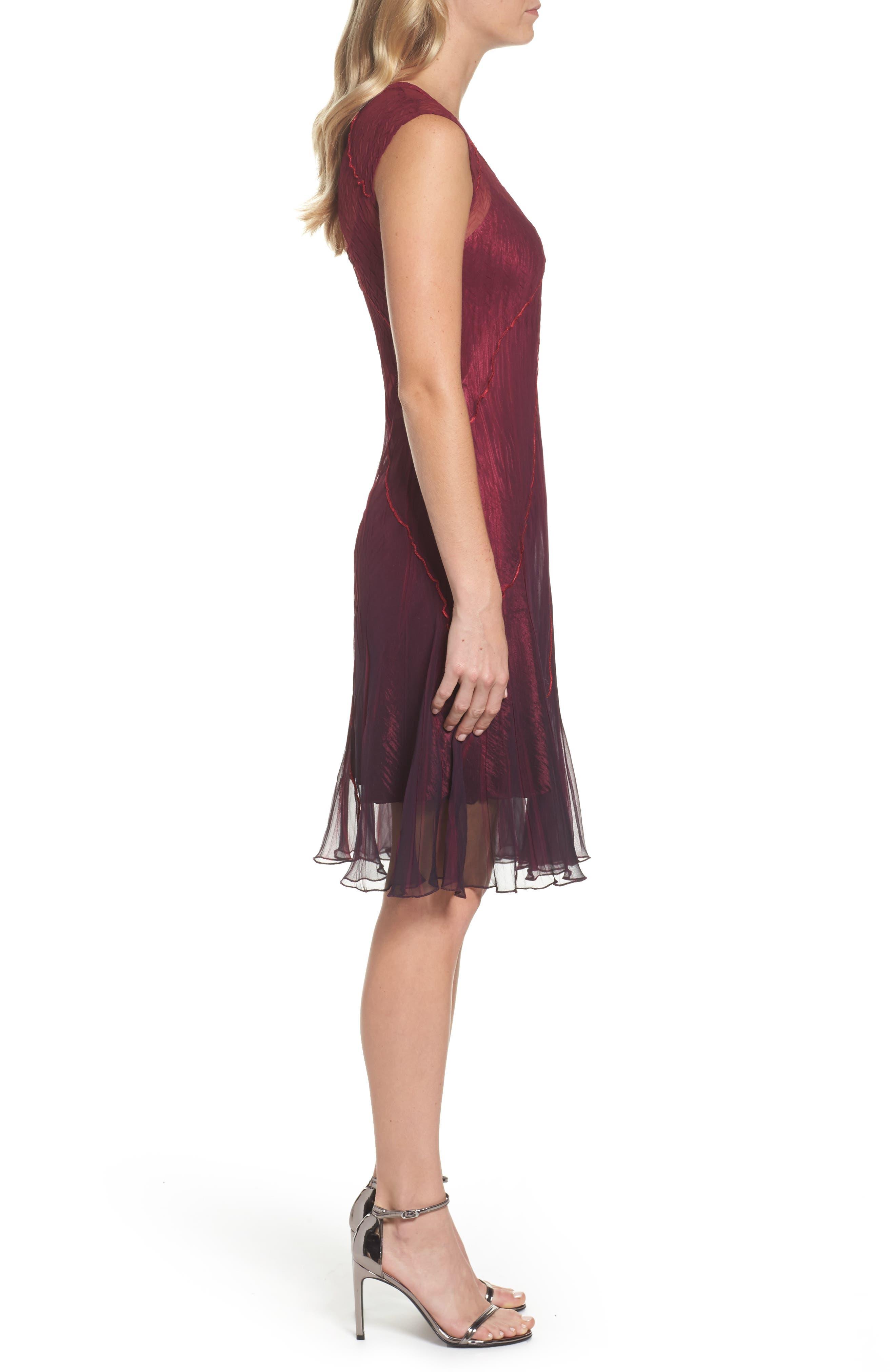 Chiffon A-Line Dress,                             Alternate thumbnail 3, color,                             Red Plum Blue Ombre