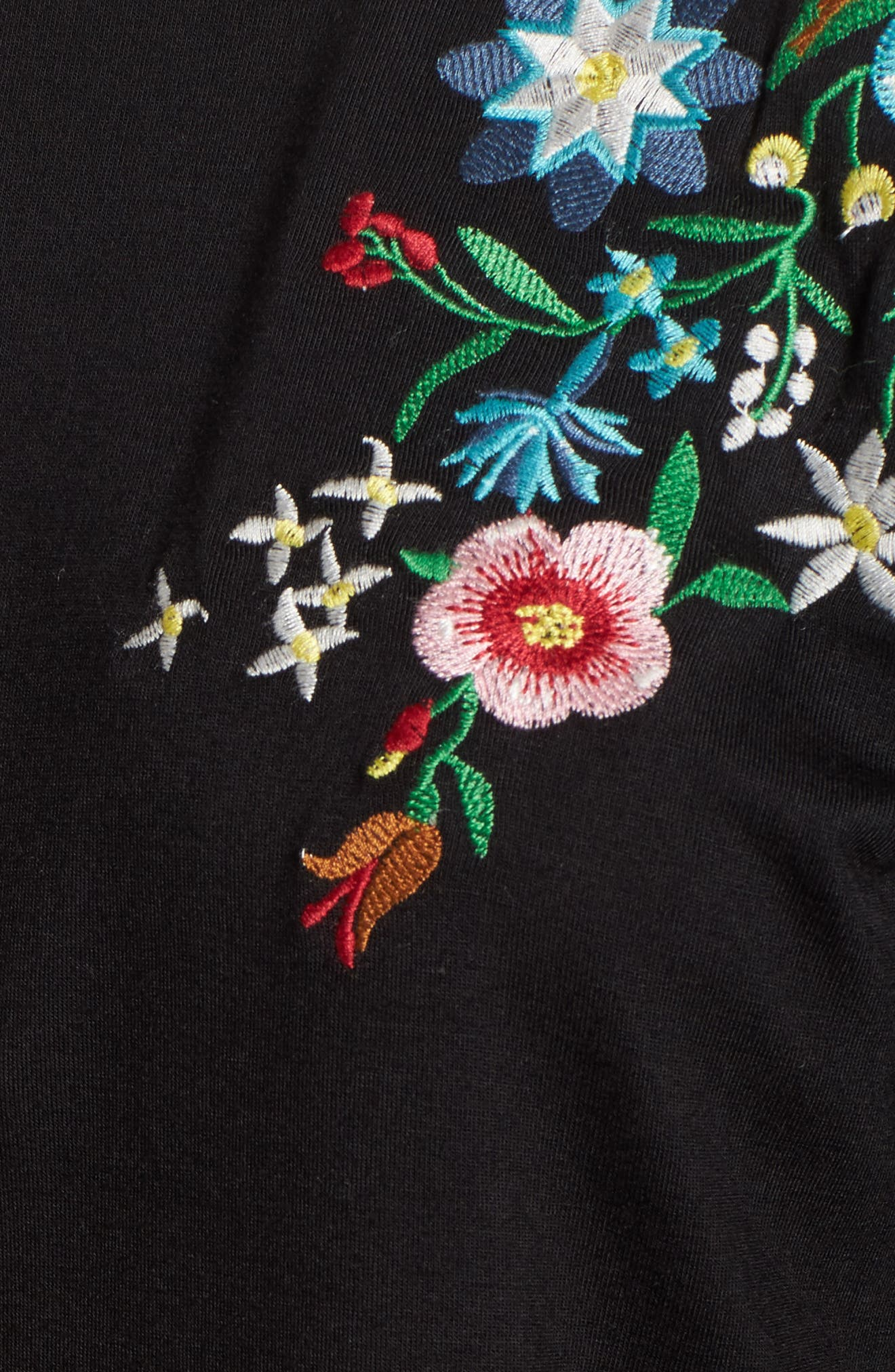 Floral Tee,                             Alternate thumbnail 5, color,                             Black