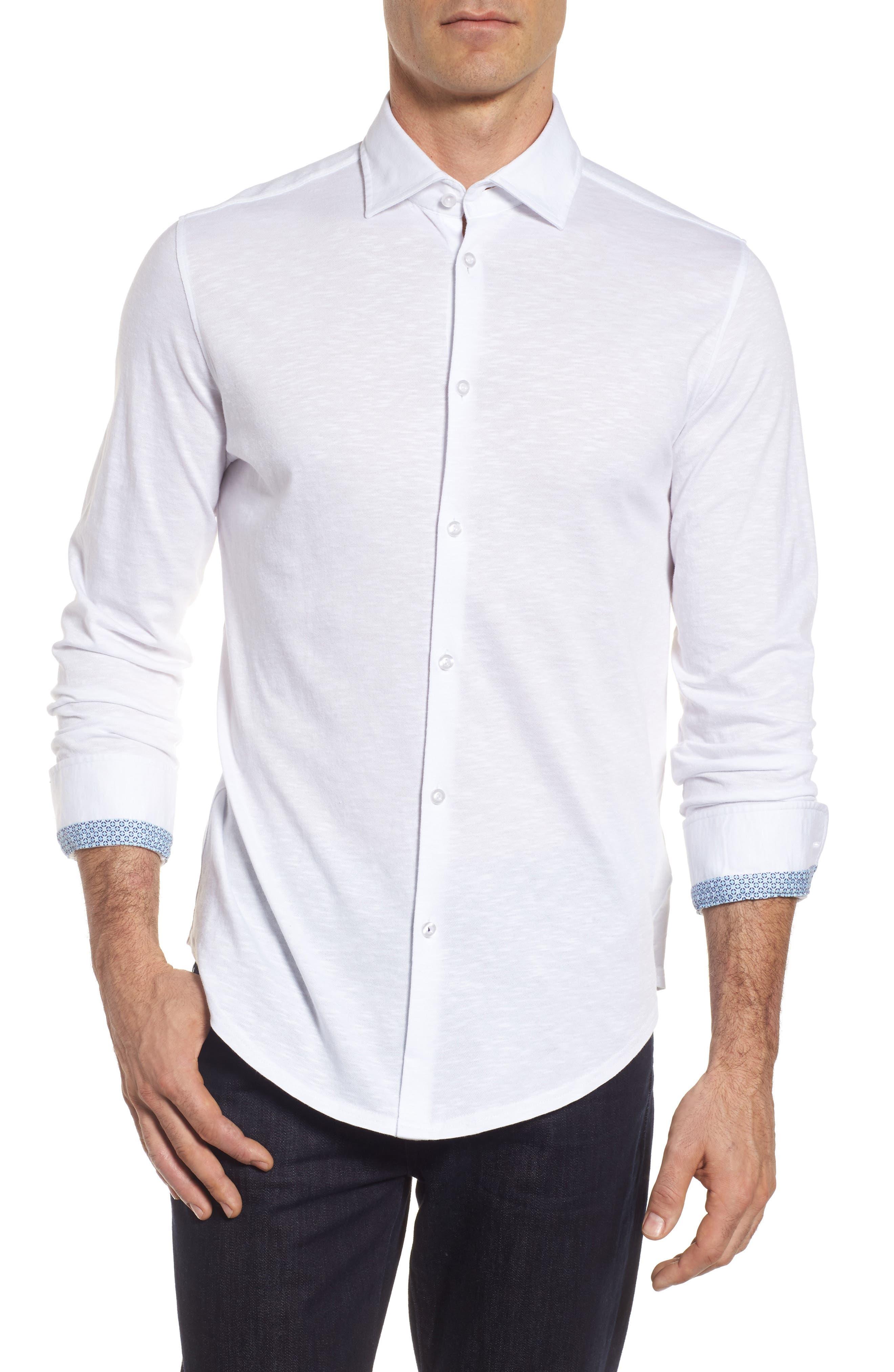 Slub Knit Sport Shirt,                         Main,                         color, White