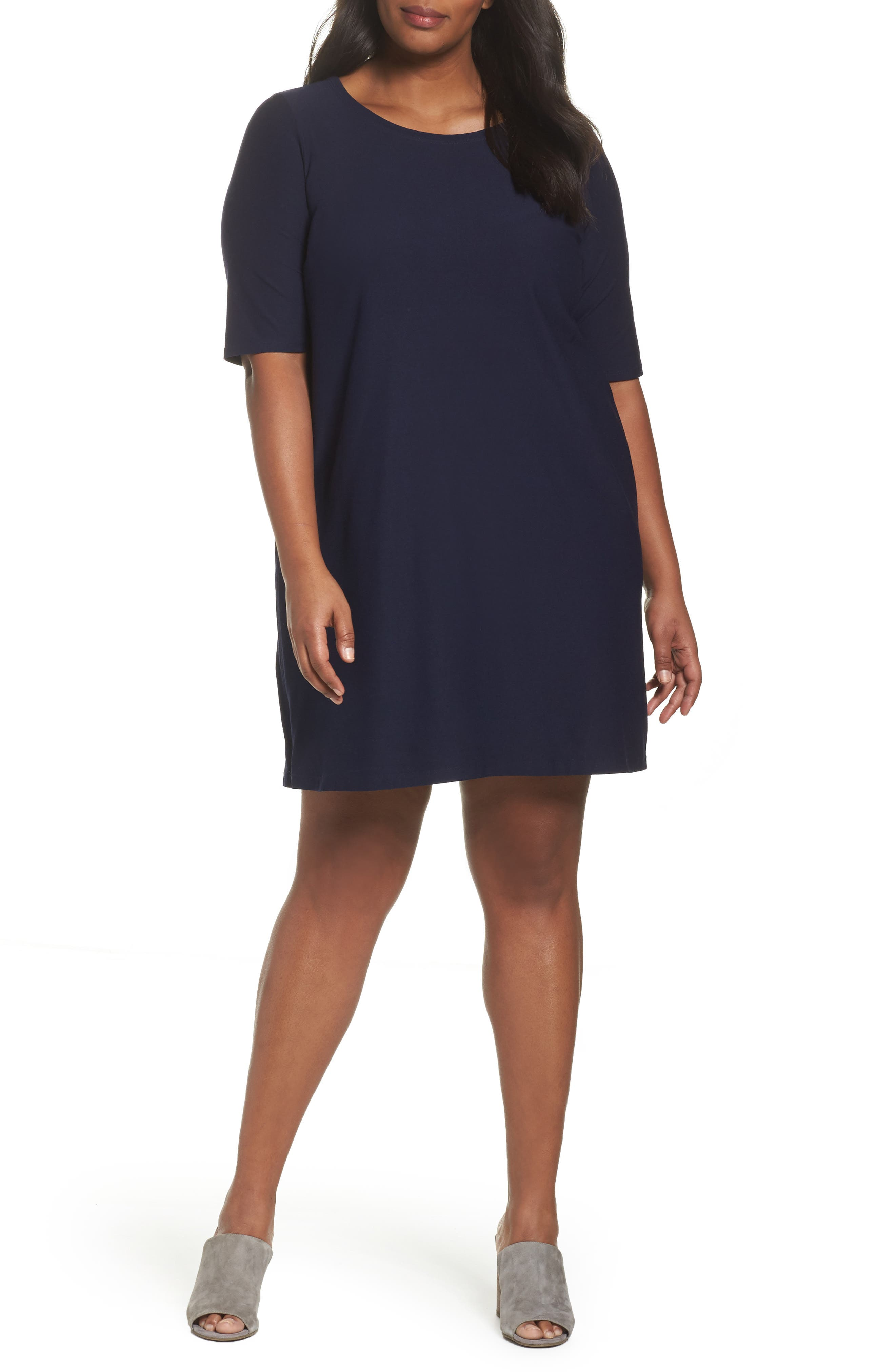 Alternate Image 1 Selected - Eileen Fisher Side Zip Knit Shift Dress (Plus Size)