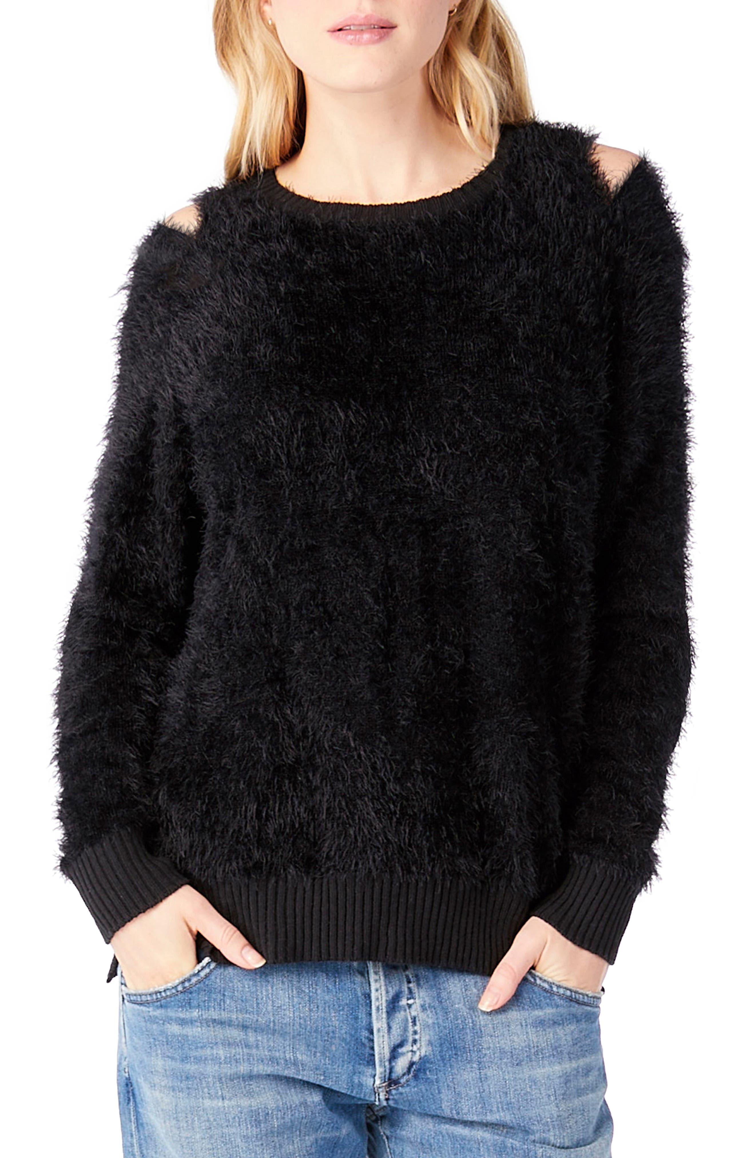 Eyelash Knit Sweater,                         Main,                         color, Black