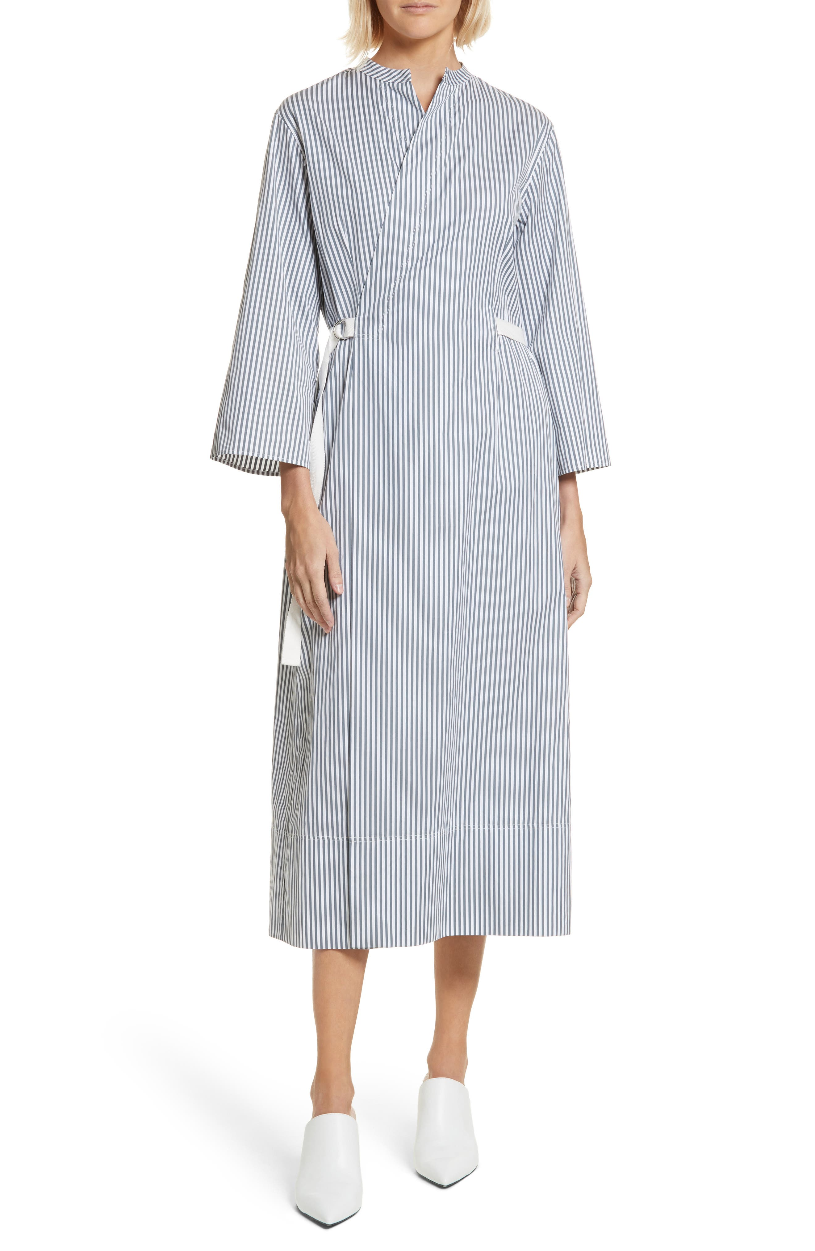 Candy Stripe Midi Dress,                         Main,                         color, Ink