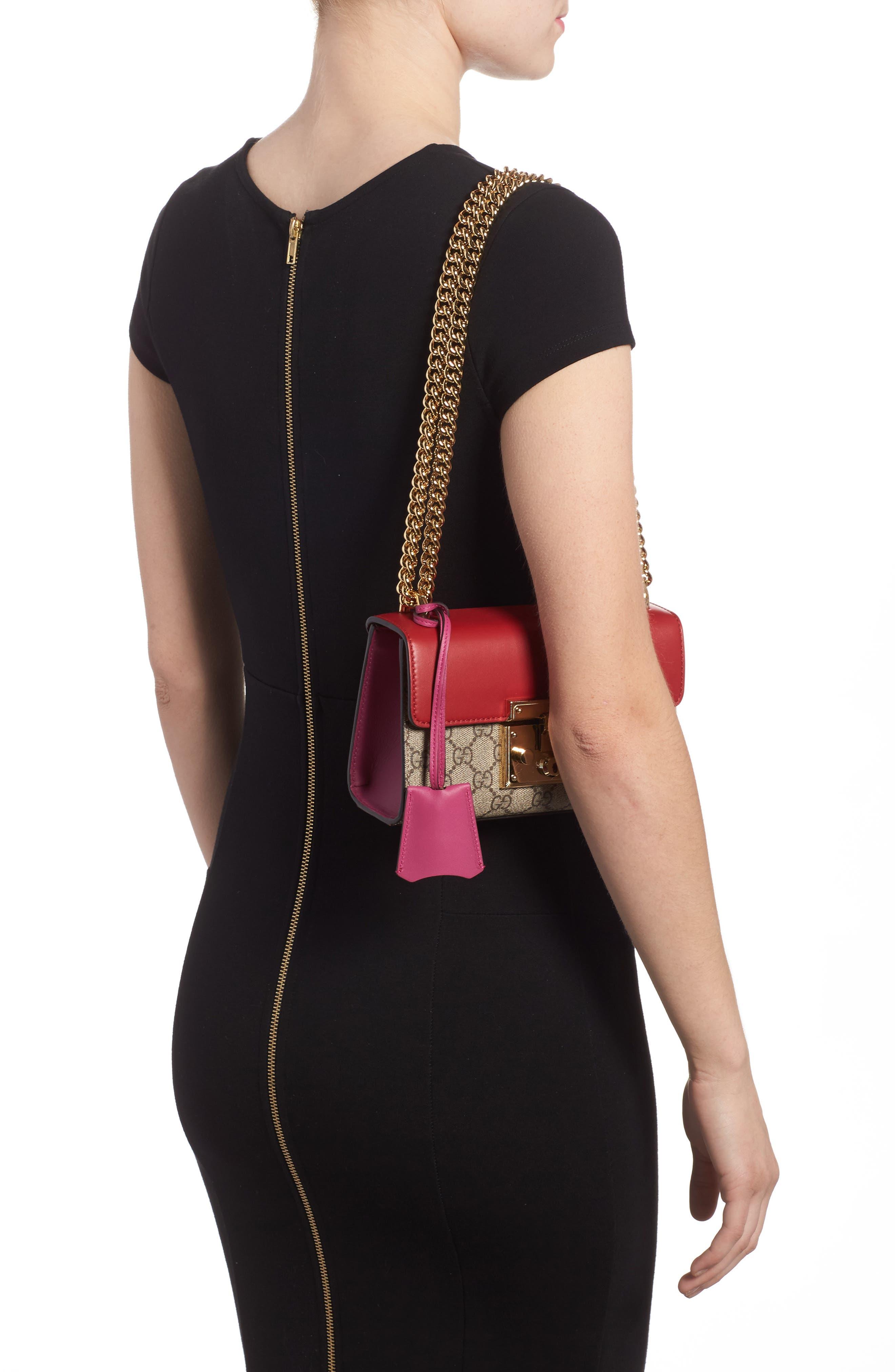 Small Padlock Shoulder Bag,                             Alternate thumbnail 5, color,                             Beige/ Hibiscus/ Roset