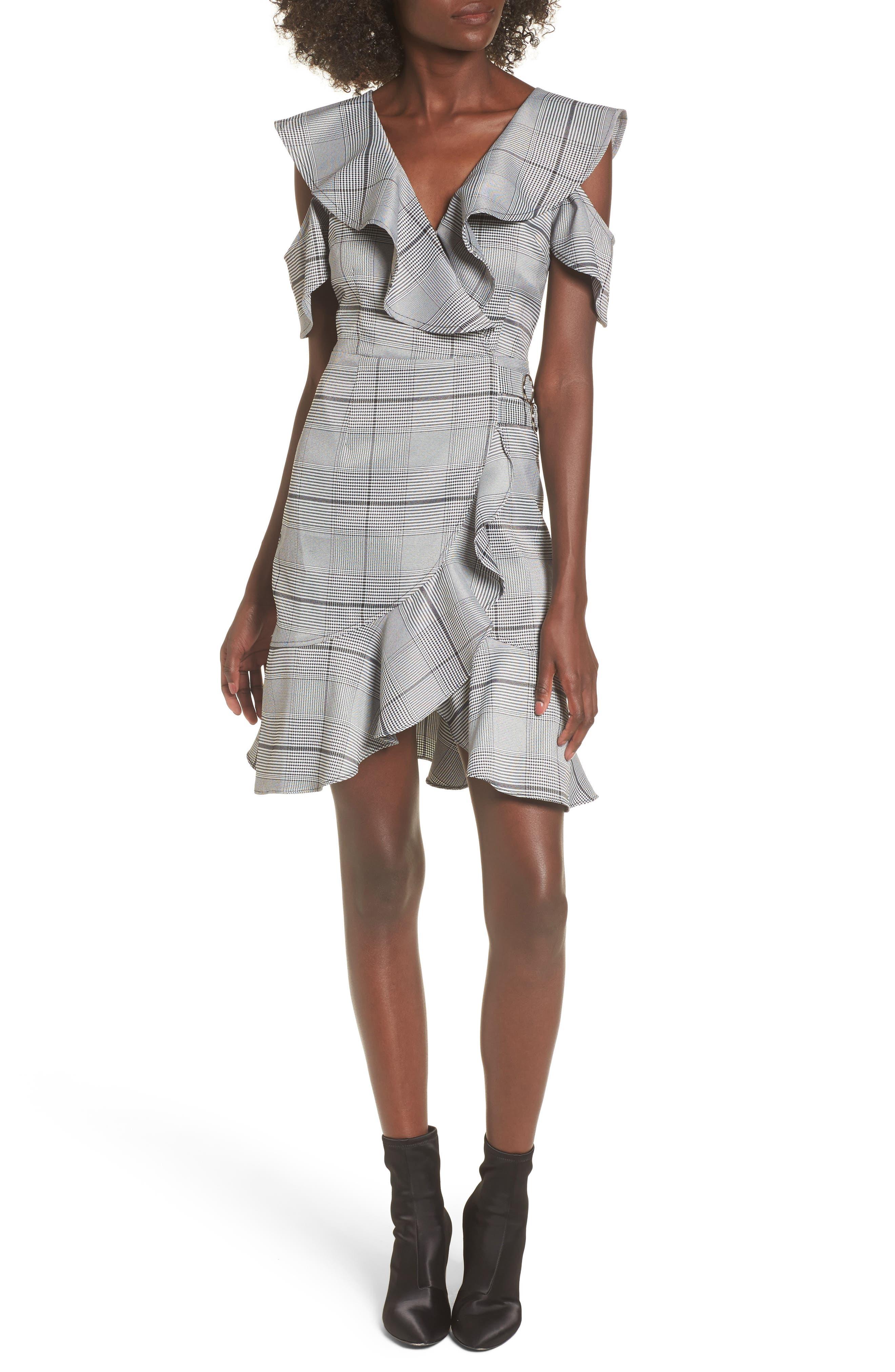 J.O.A. Cold Shoulder Ruffle Dress