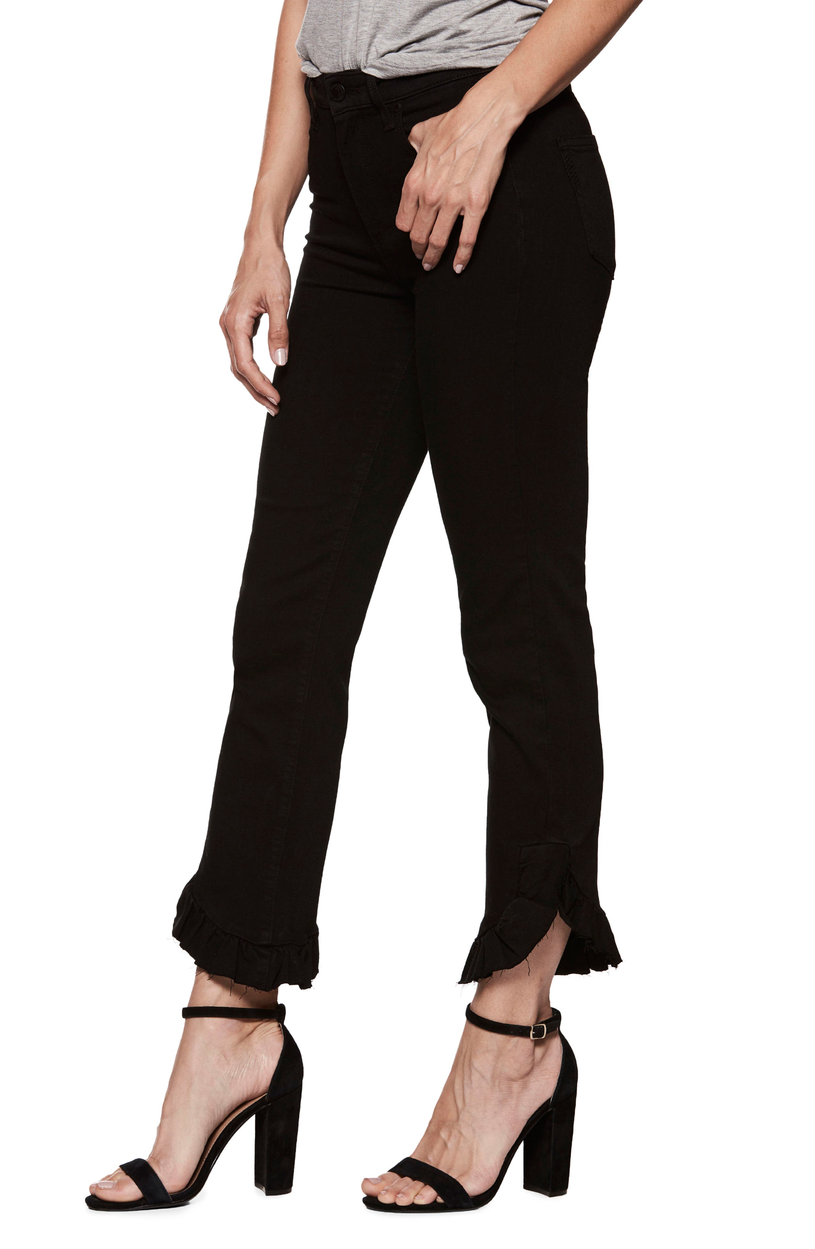 Transcend - Hoxton High Waist Ankle Straight Leg Jeans,                             Alternate thumbnail 3, color,                             Black Shadow