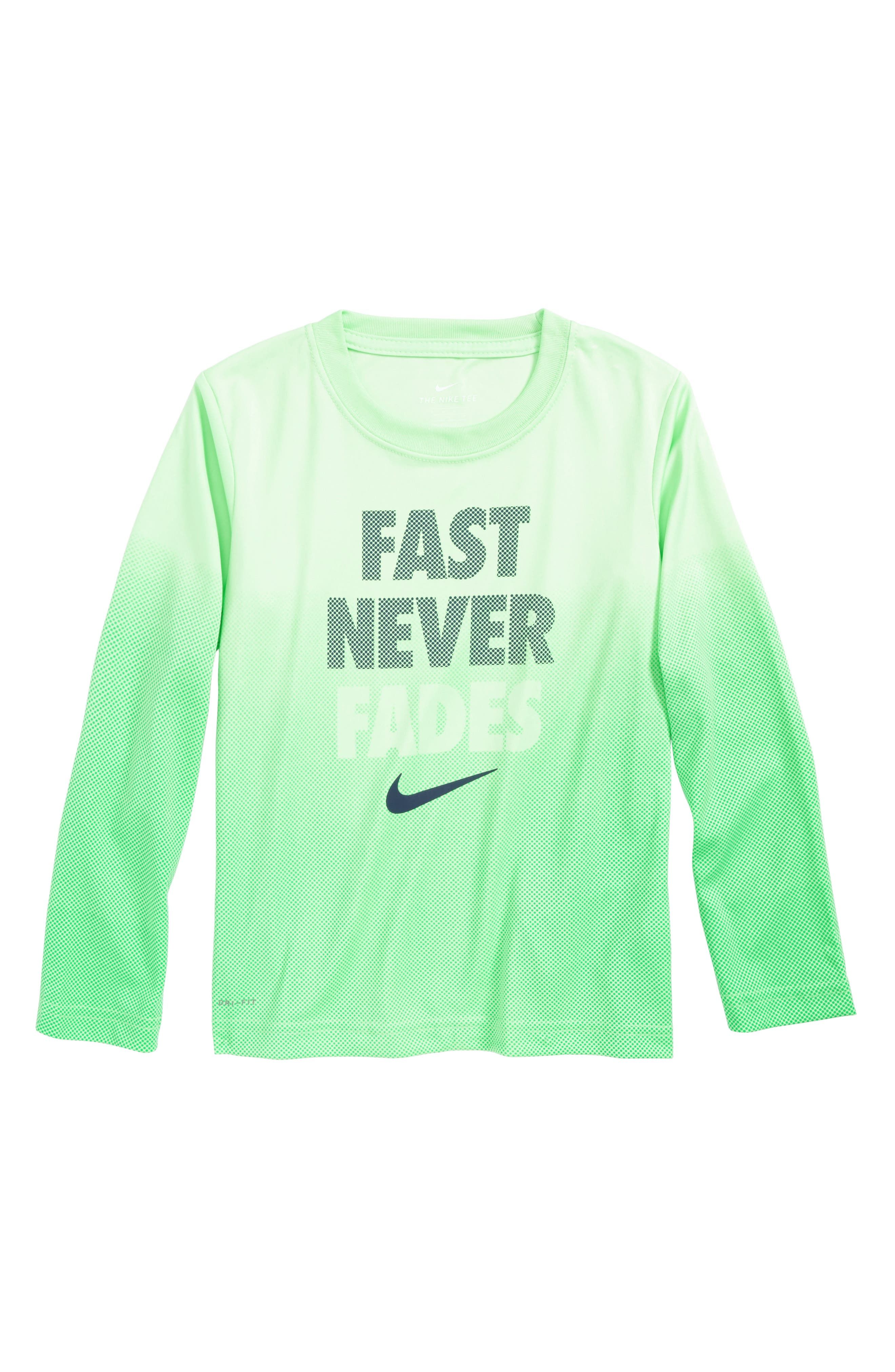 Fast Never Fades Long Sleeve T-Shirt,                         Main,                         color, Illusion Green