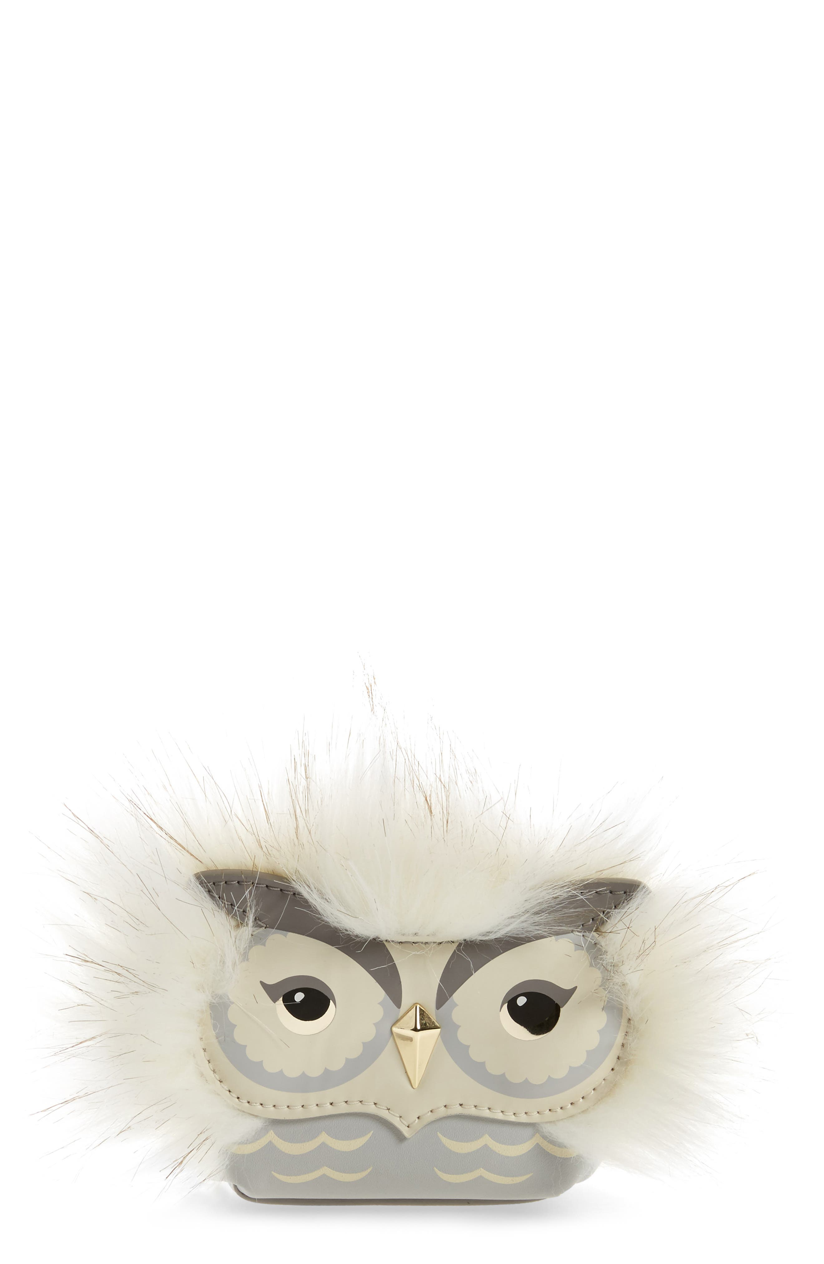 Main Image - kate spade new york starbright owl faux fur & leather coin case/bag charm