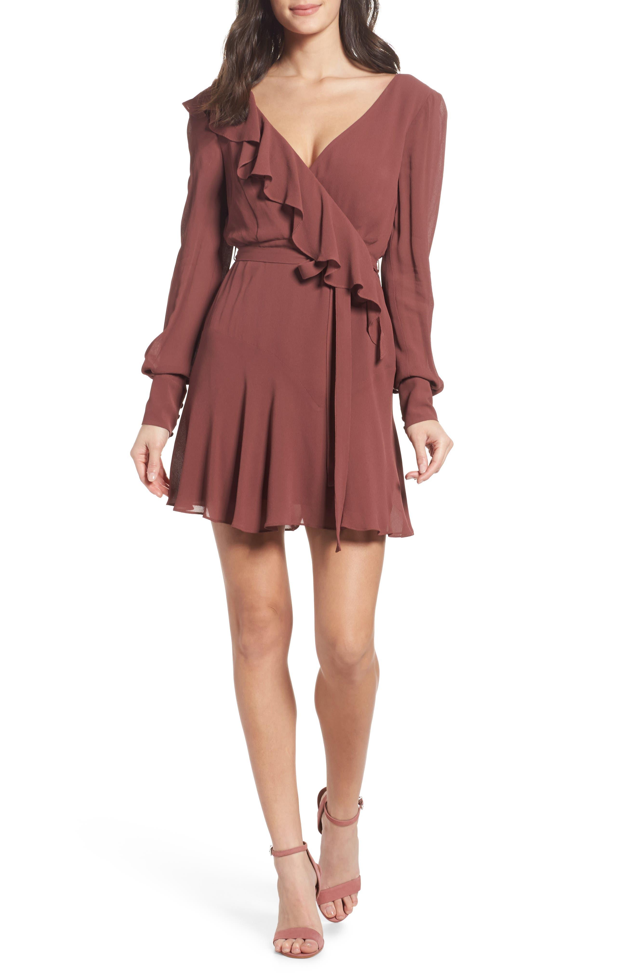 Rosie Ruffle Dress,                             Main thumbnail 1, color,                             Clay