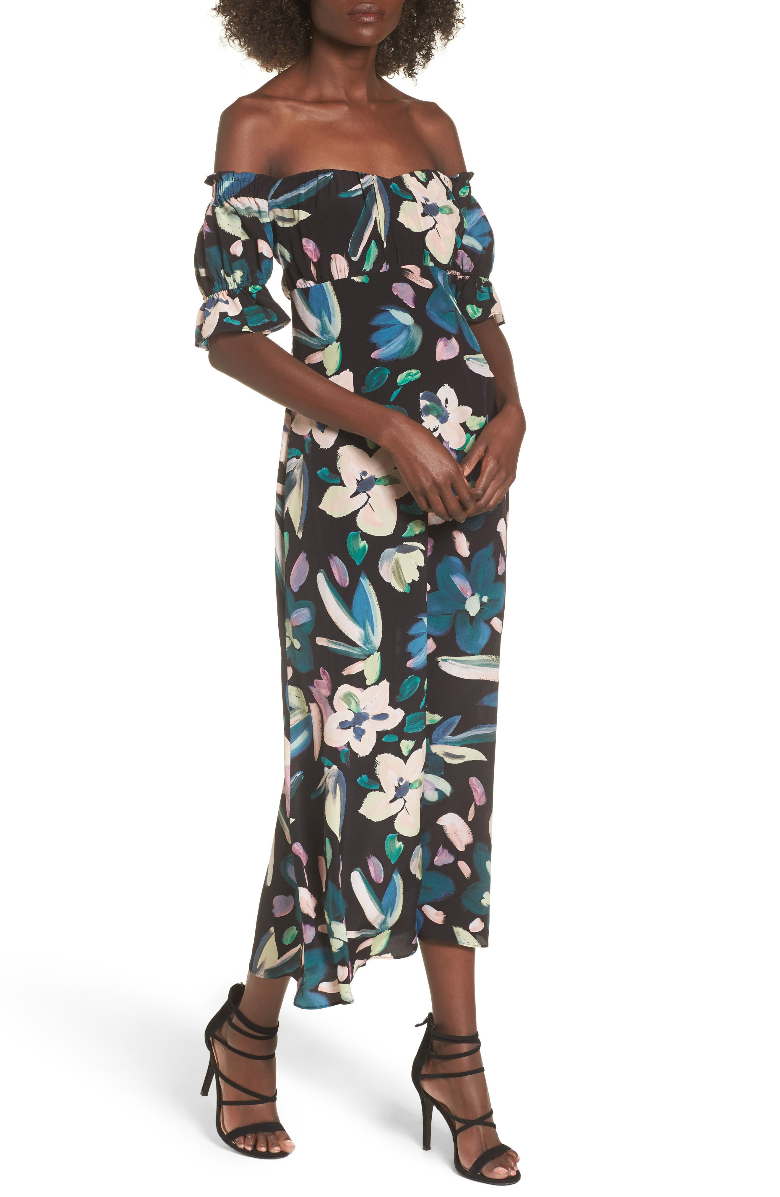 Flores Off the Shoulder Midi Dress,                         Main,                         color, Black Hopper