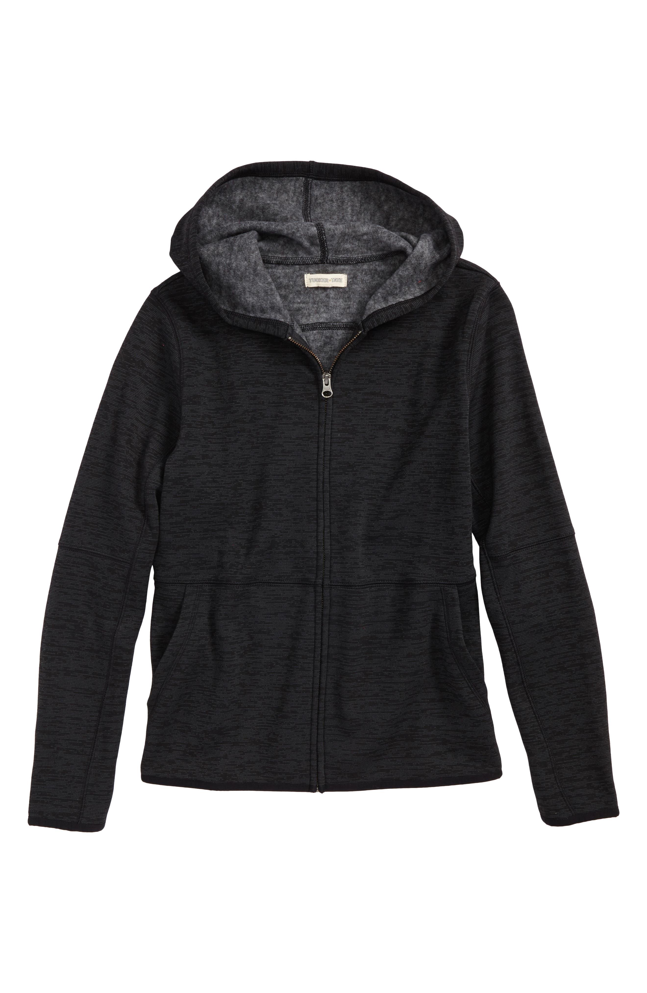 Fleece Zip Hoodie,                         Main,                         color, Black