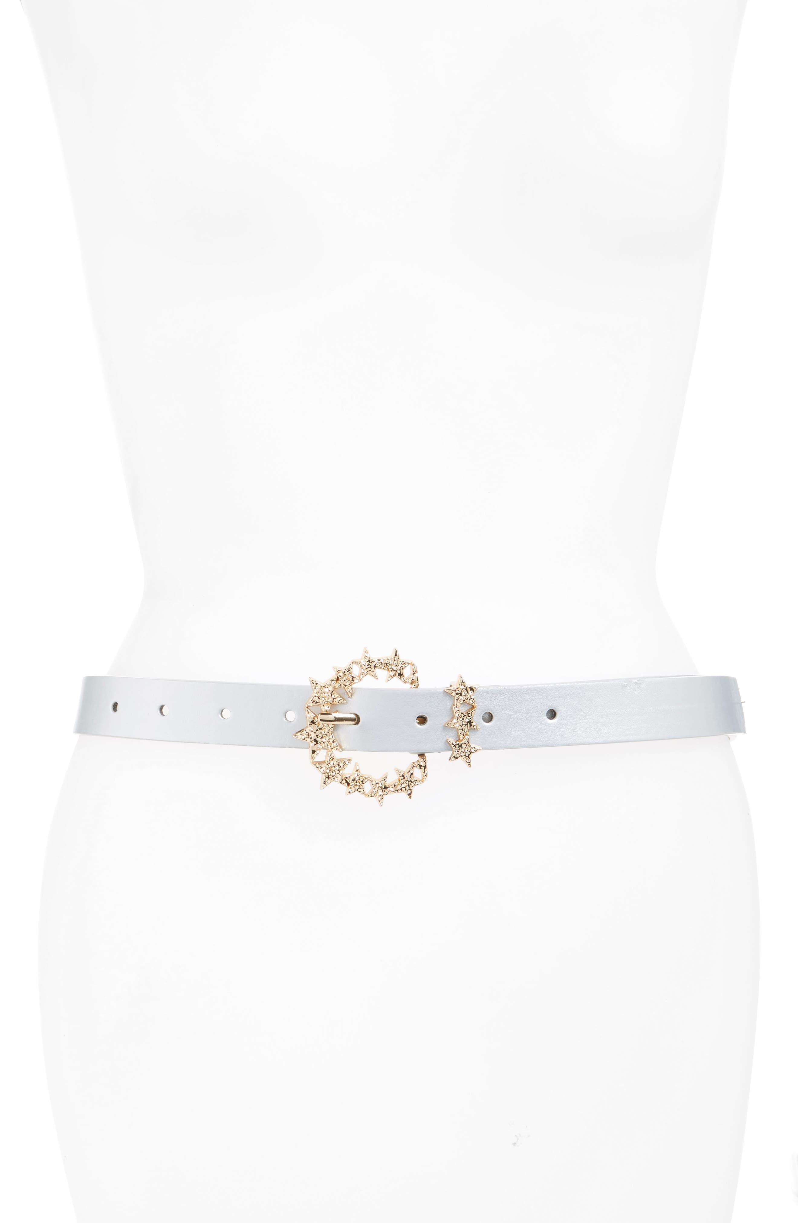 Star Buckle Belt,                         Main,                         color, Silver