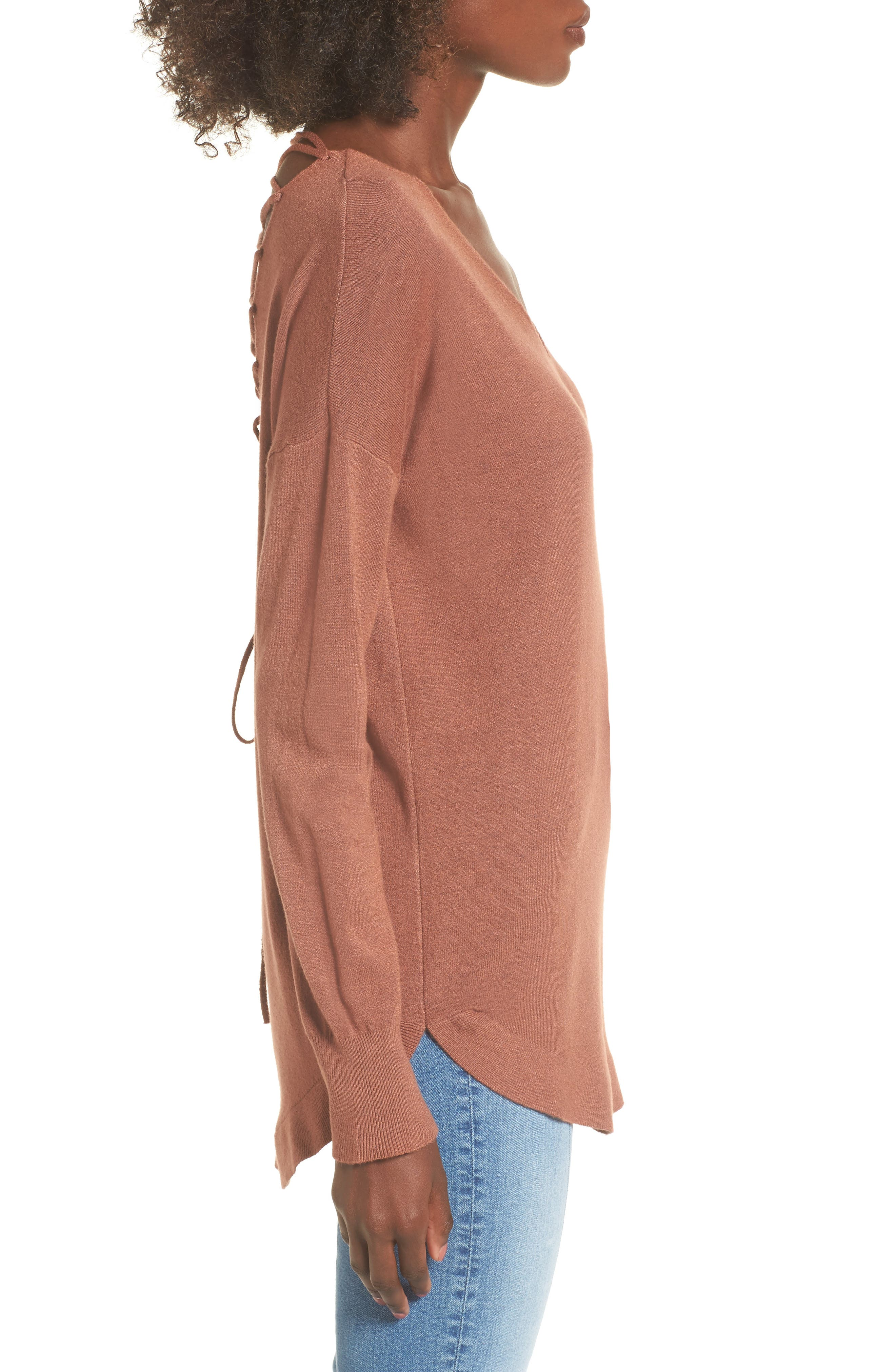 Laced Up V-Back Sweater,                             Alternate thumbnail 3, color,                             Ginger
