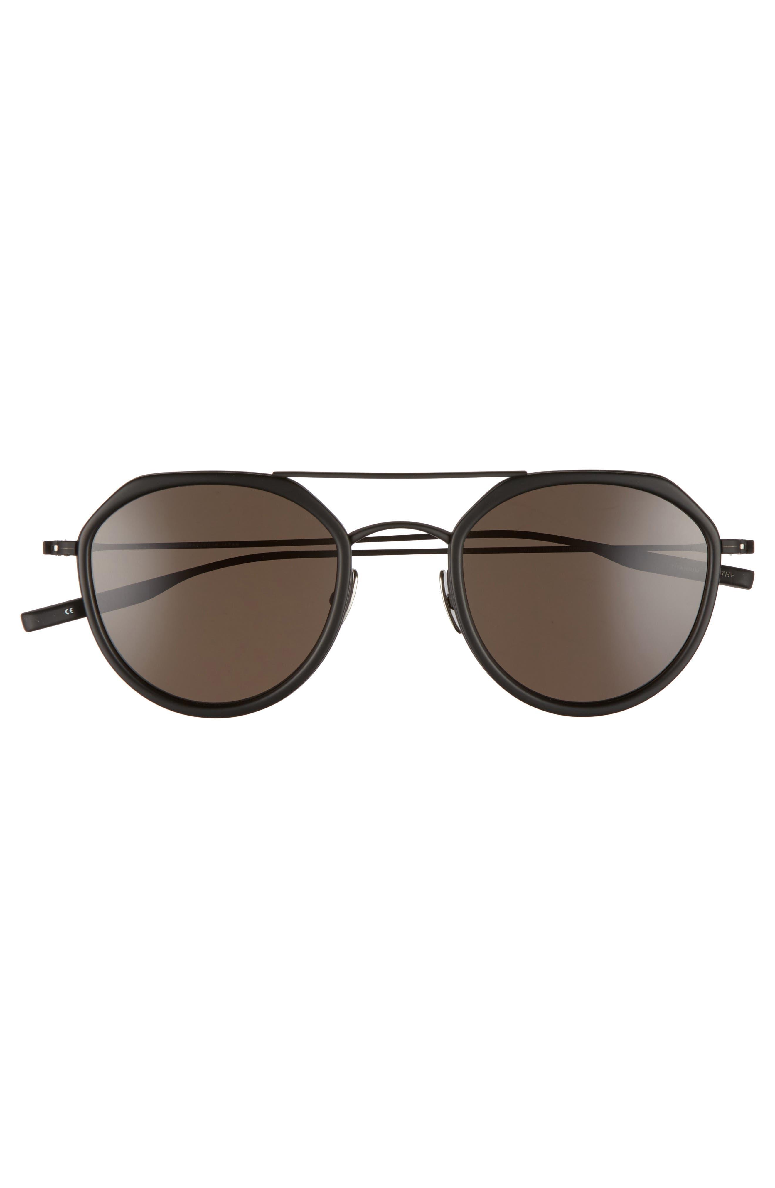 Dibergi Resin 50mm Polarized Round Sunglasses,                             Alternate thumbnail 3, color,                             Matte Black/ Black Sand