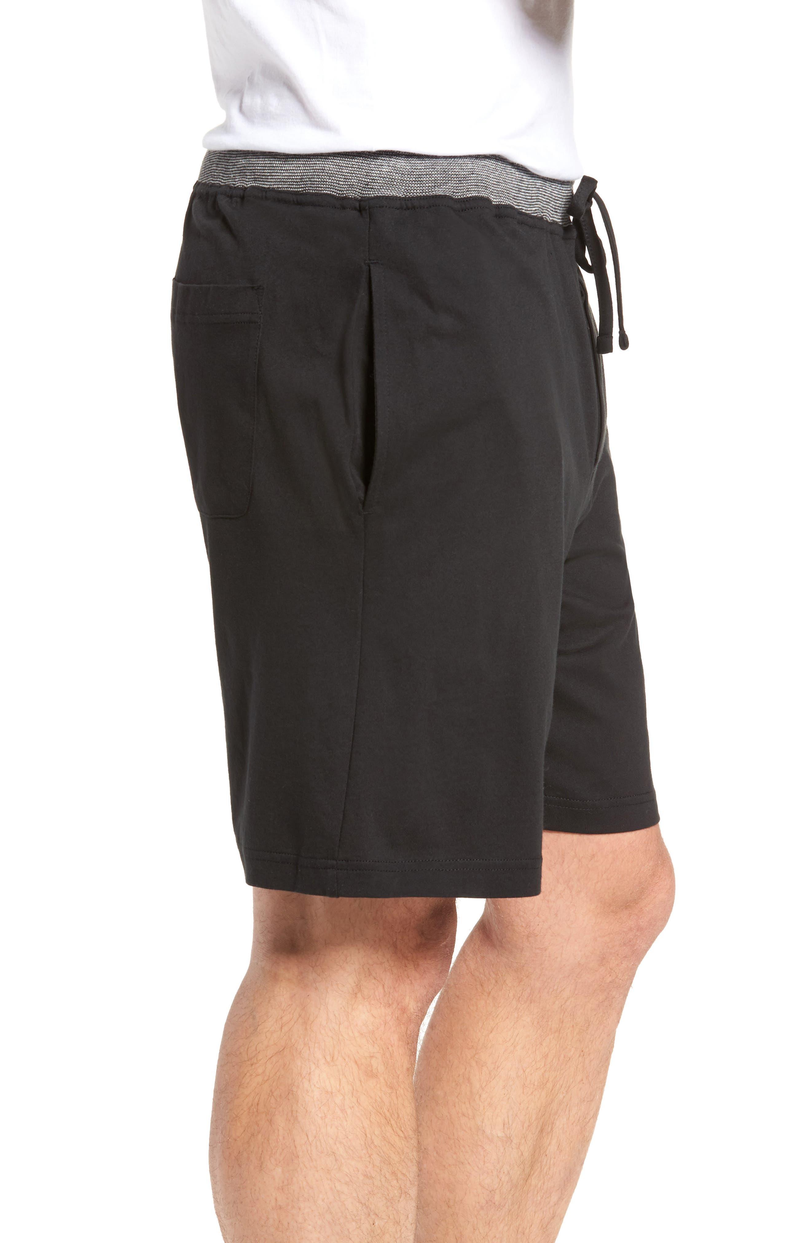 Cotton Lounge Shorts,                             Alternate thumbnail 3, color,                             Solid Black