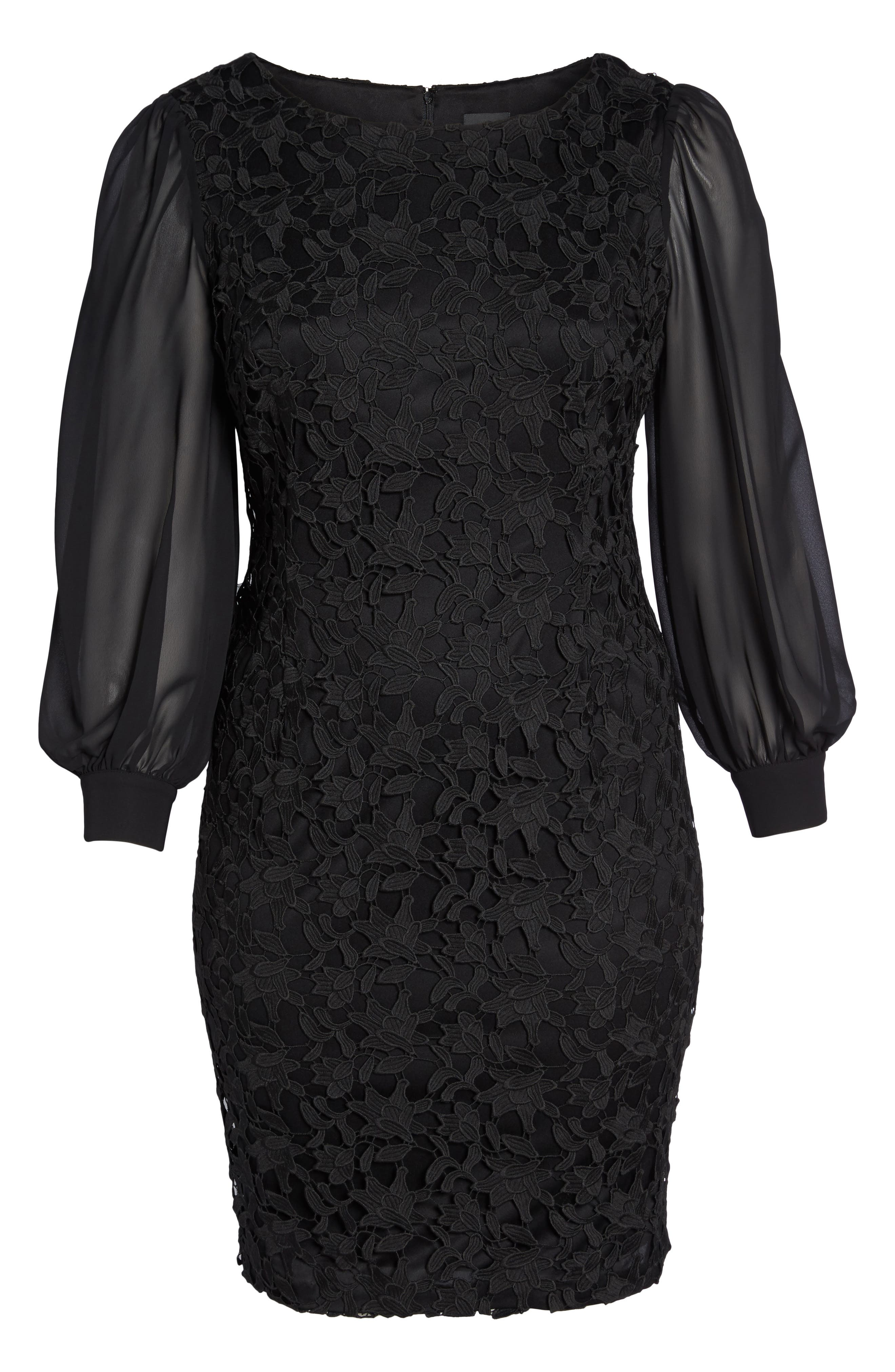 Ava Lace Sheath Dress,                             Alternate thumbnail 6, color,                             Black