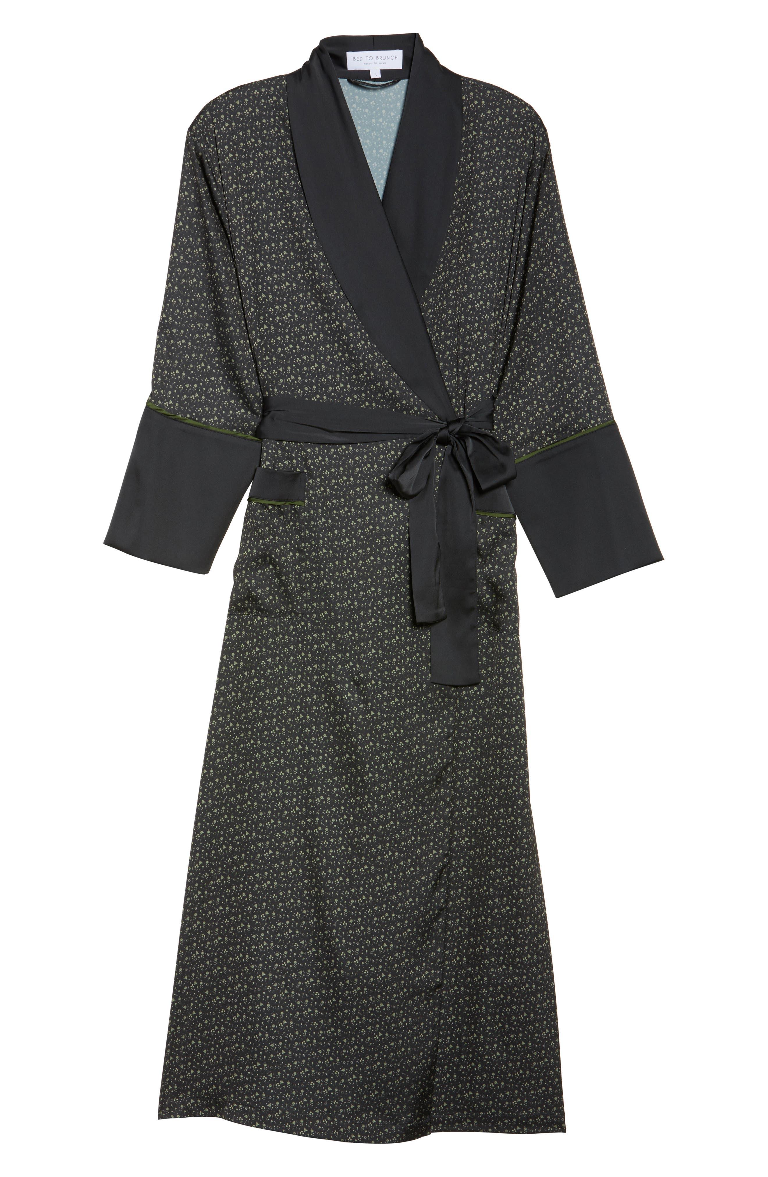 Alternate Image 4  - Bed to Brunch Print Satin Robe