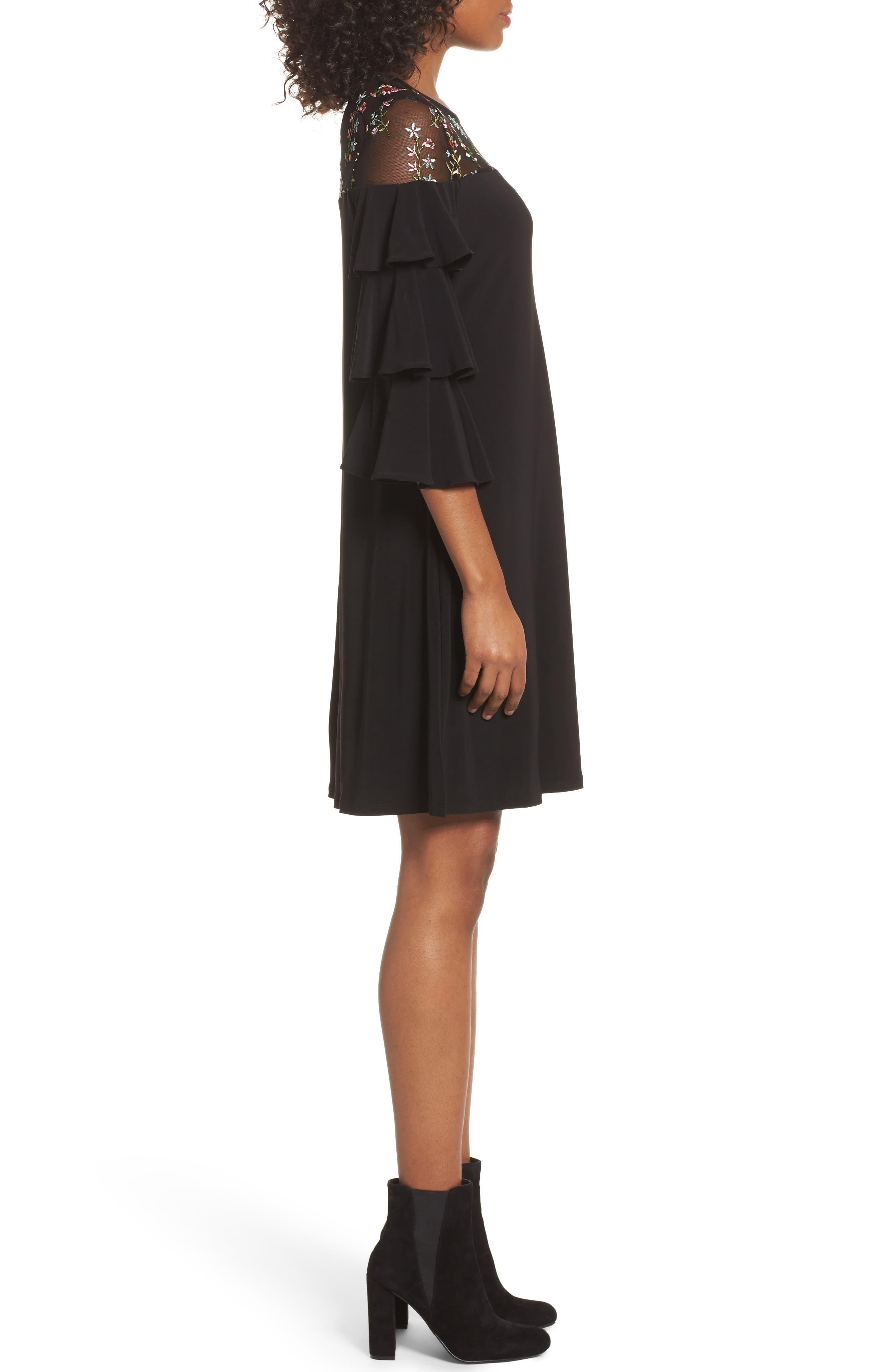 Tiered Sleeve Trapeze Dress,                             Alternate thumbnail 3, color,                             Black Multi