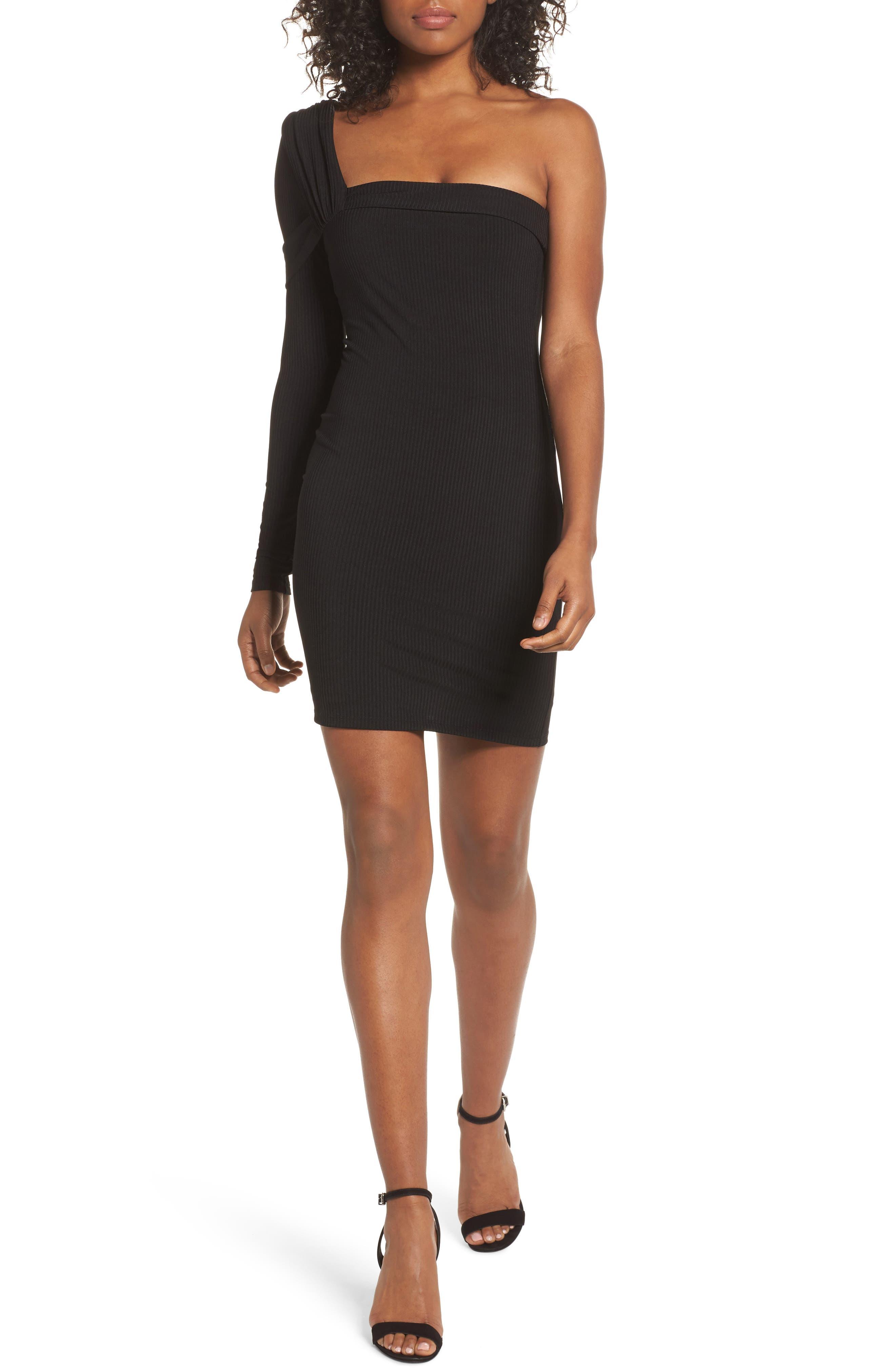 One-Shoulder Body-Con Dress,                             Main thumbnail 1, color,                             Black
