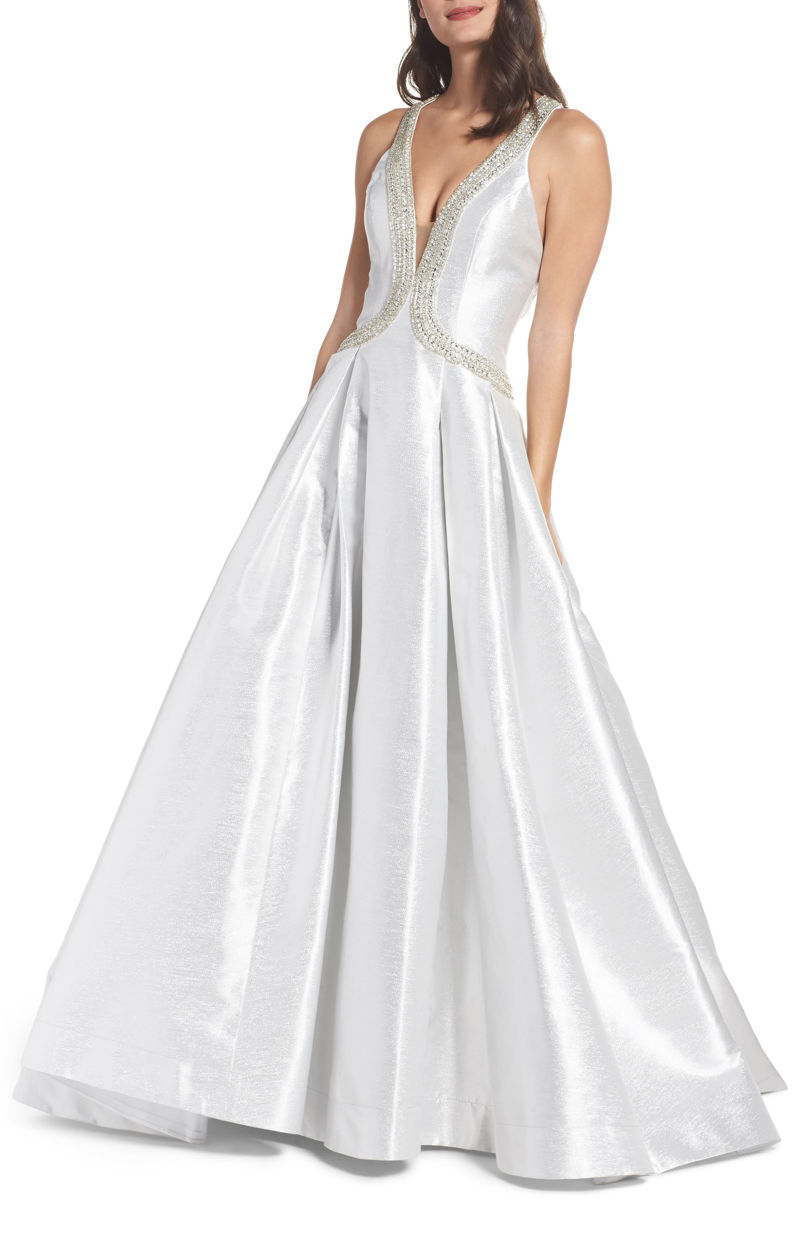 Beaded Halter Neck Ballgown,                             Main thumbnail 1, color,                             Ice Ice Baby