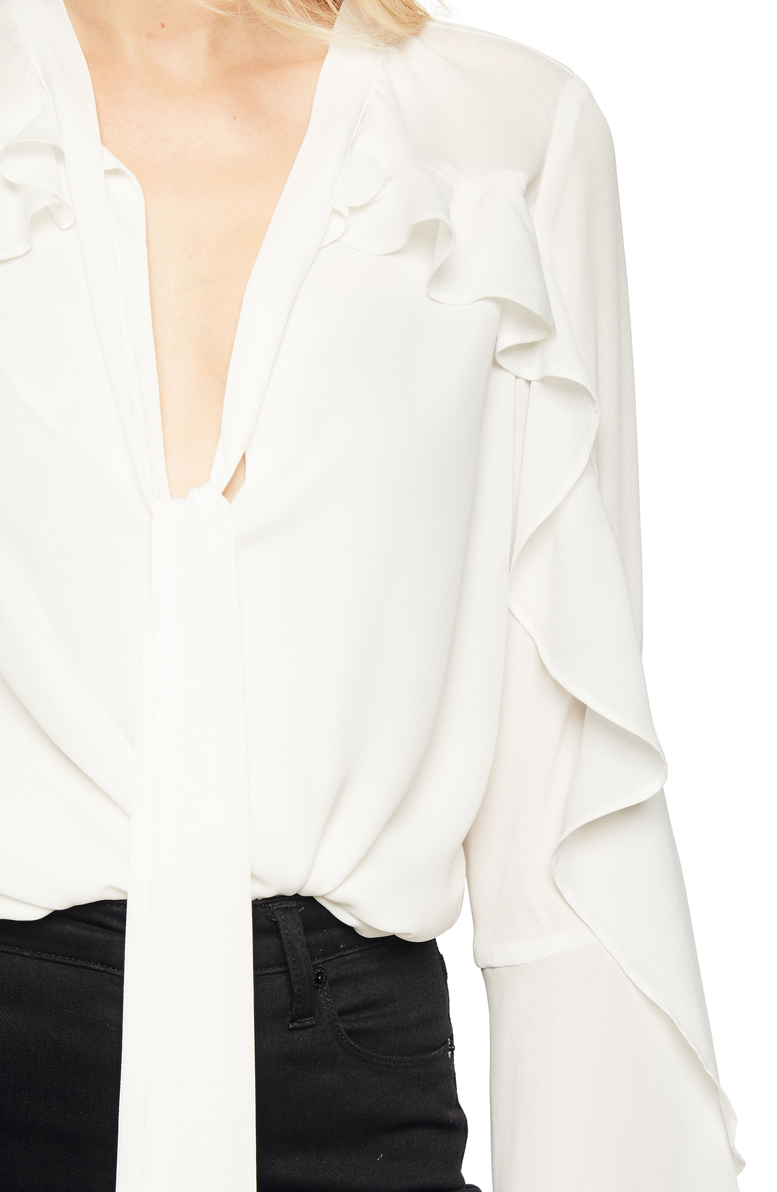 Bow Frill Top,                             Alternate thumbnail 5, color,                             Ivory