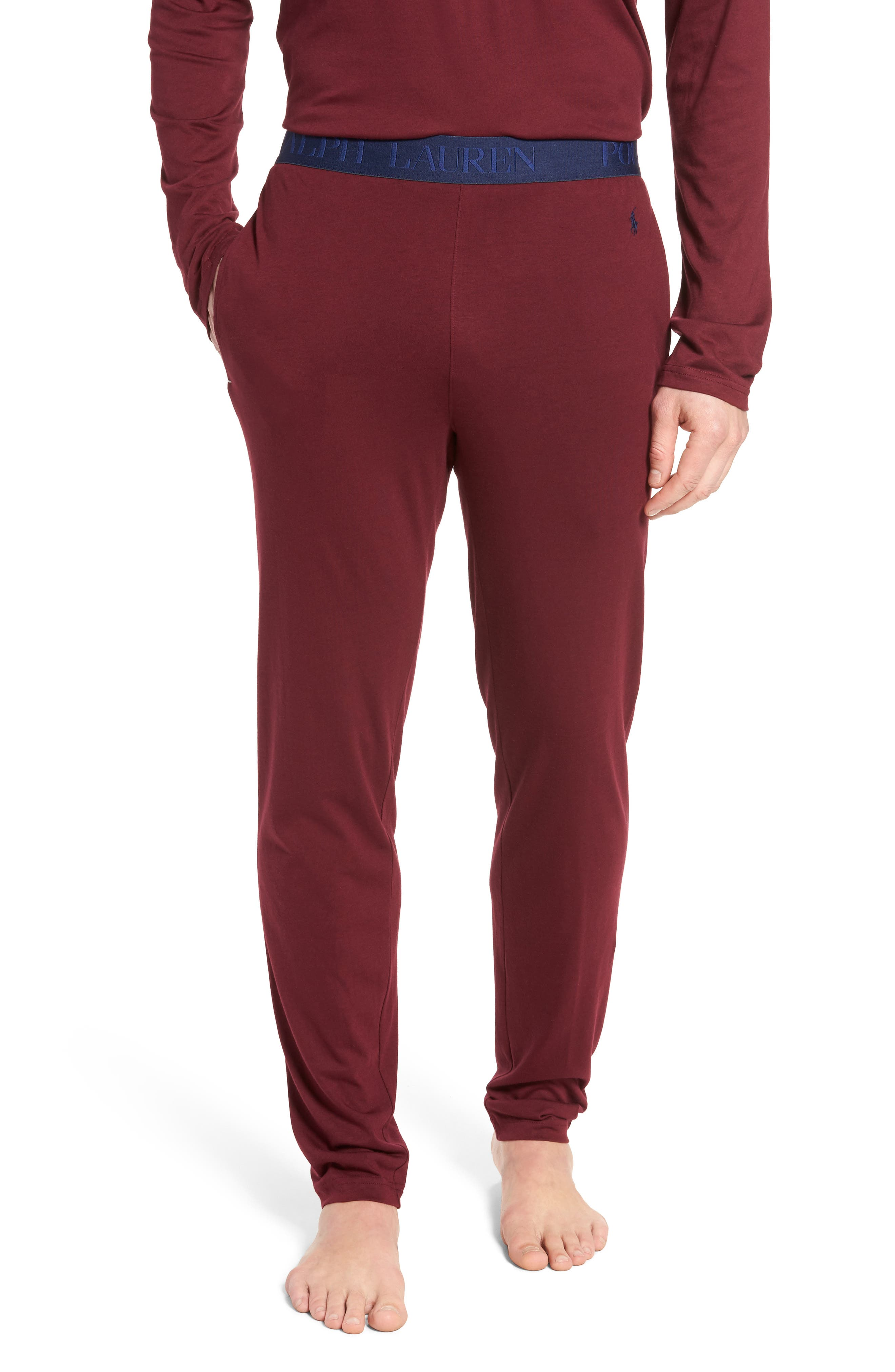 Cotton & Modal Lounge Pants,                         Main,                         color, Classic Wine/ Cruise Navy