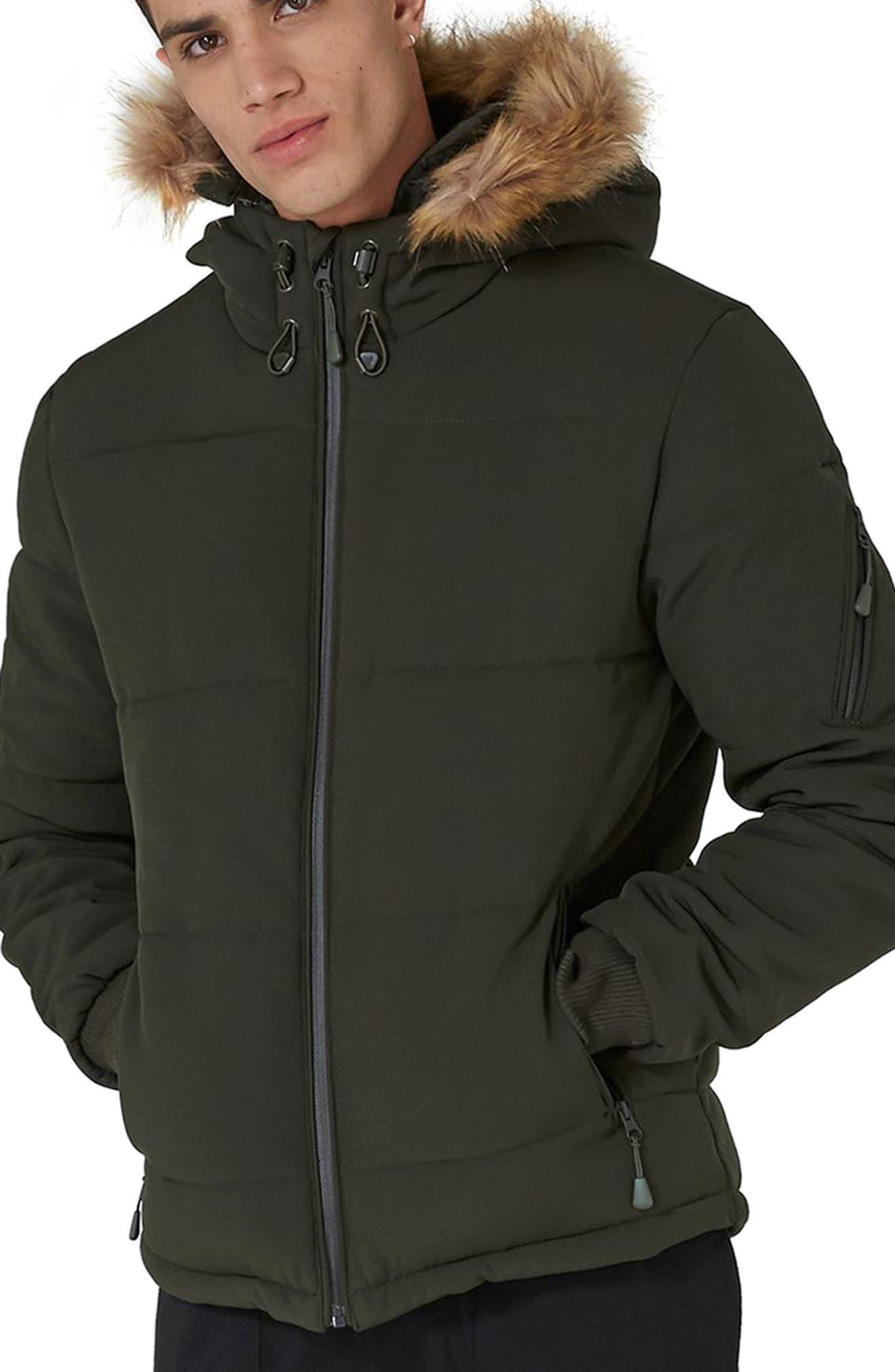 Maguire Faux Fur Trim Puffer Jacket,                             Main thumbnail 1, color,                             Green