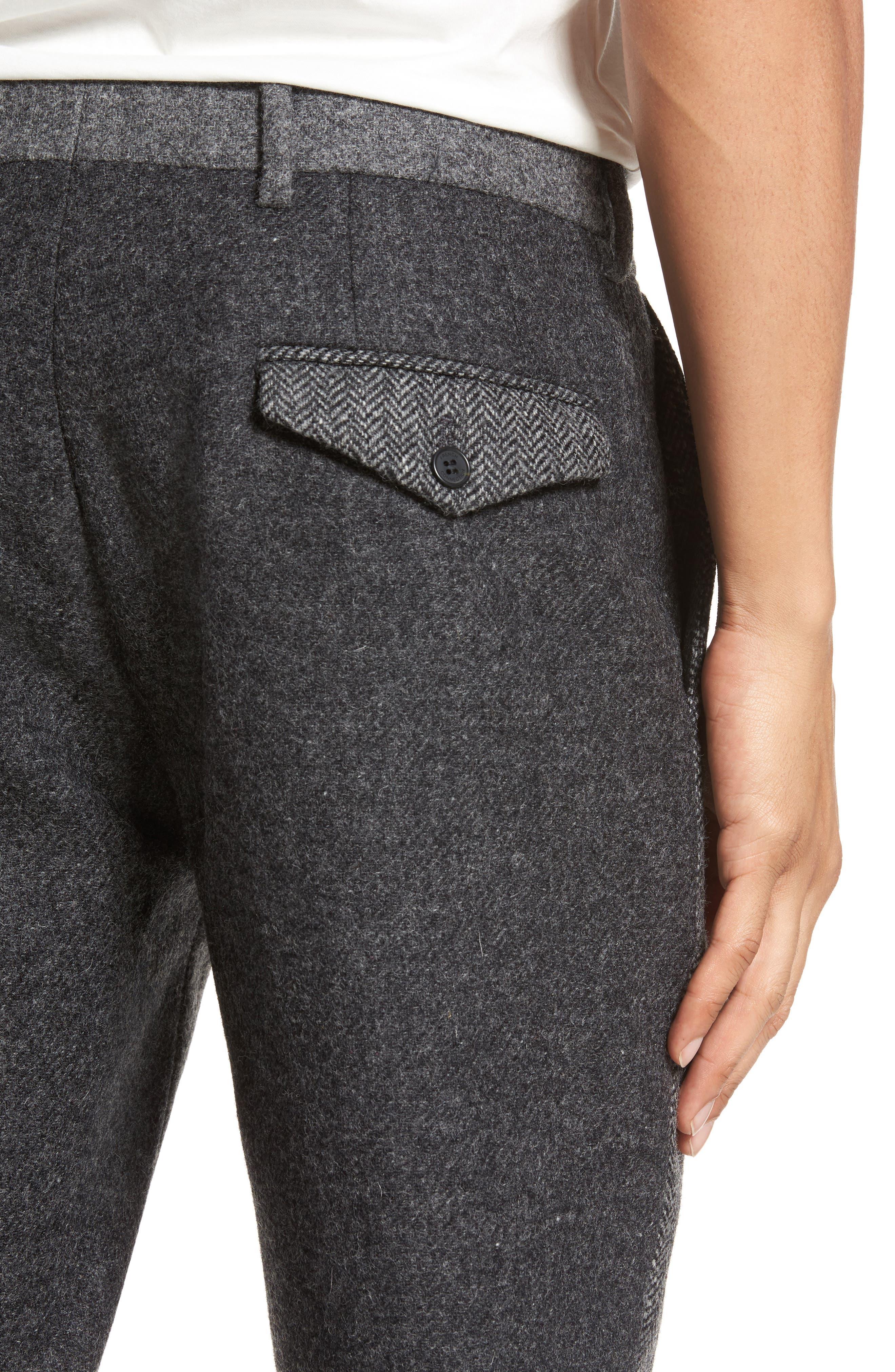 Patchwork Wool Trousers,                             Alternate thumbnail 4, color,                             Grey Melange