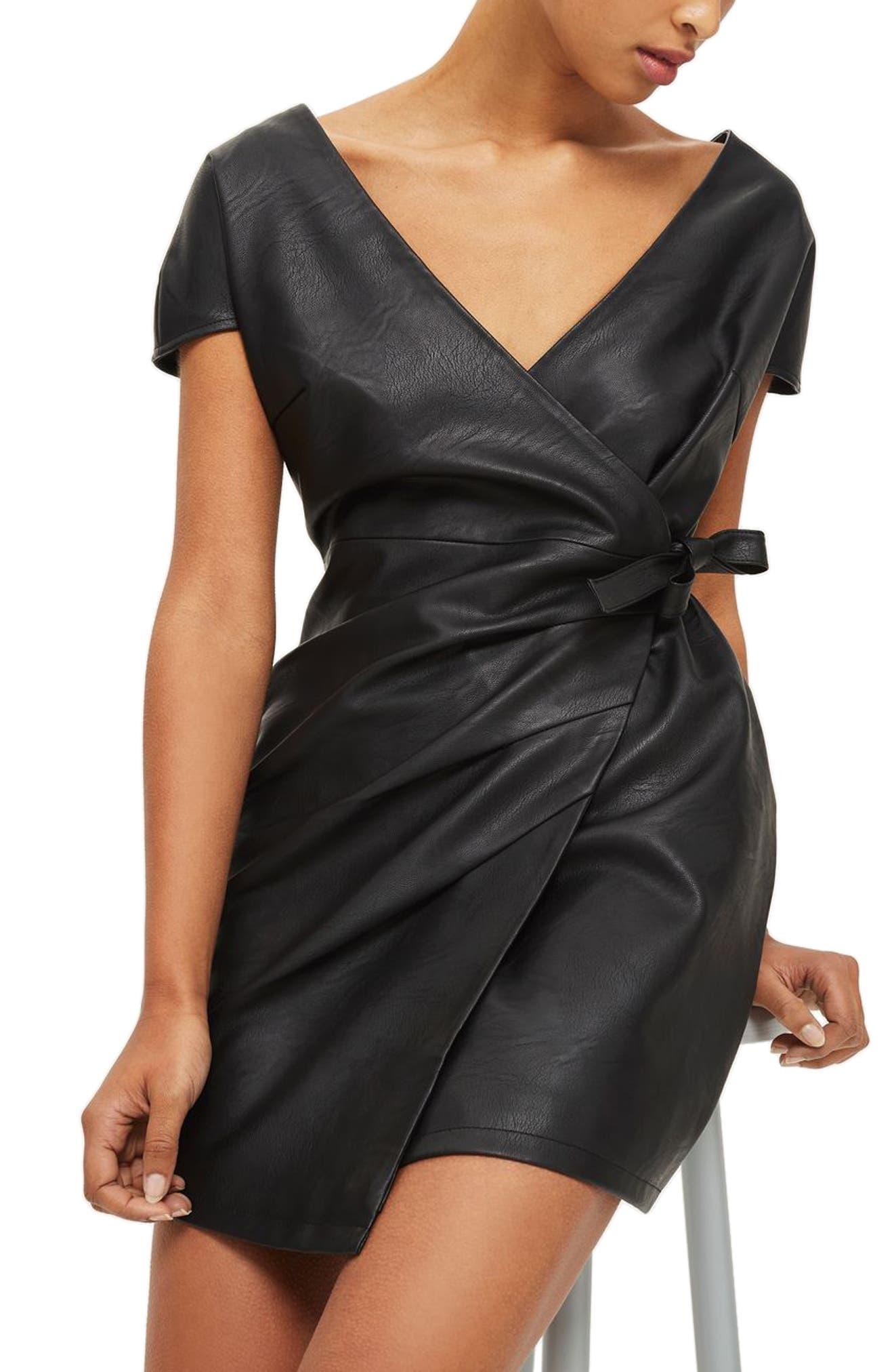 Topshop Faux Leather Wrap Dress