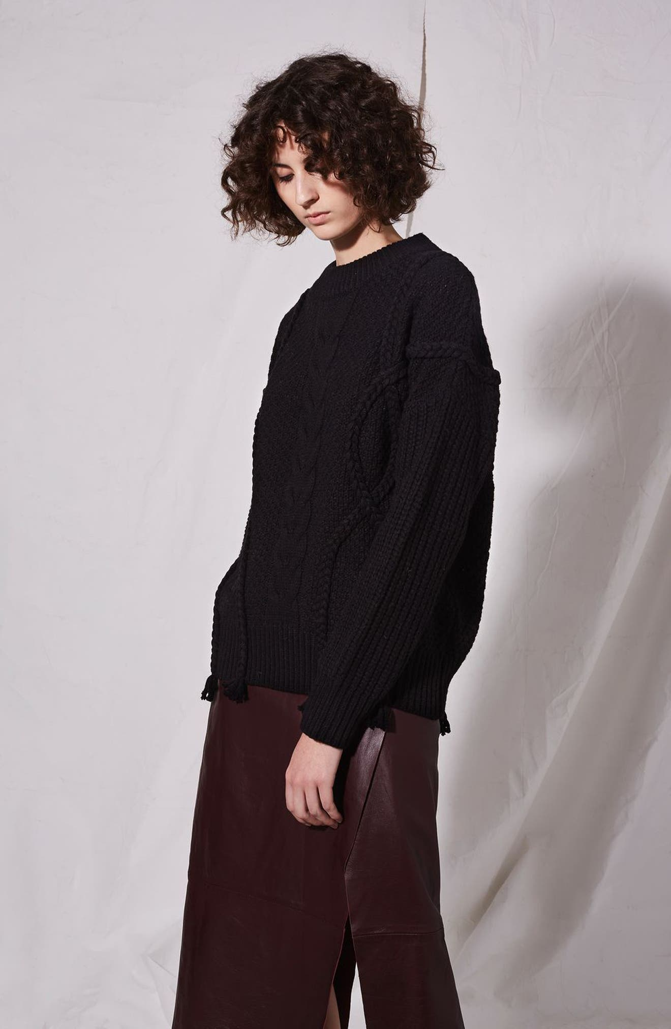 Alternate Image 8  - Topshop Boutique Plaited Cable Knit Sweater