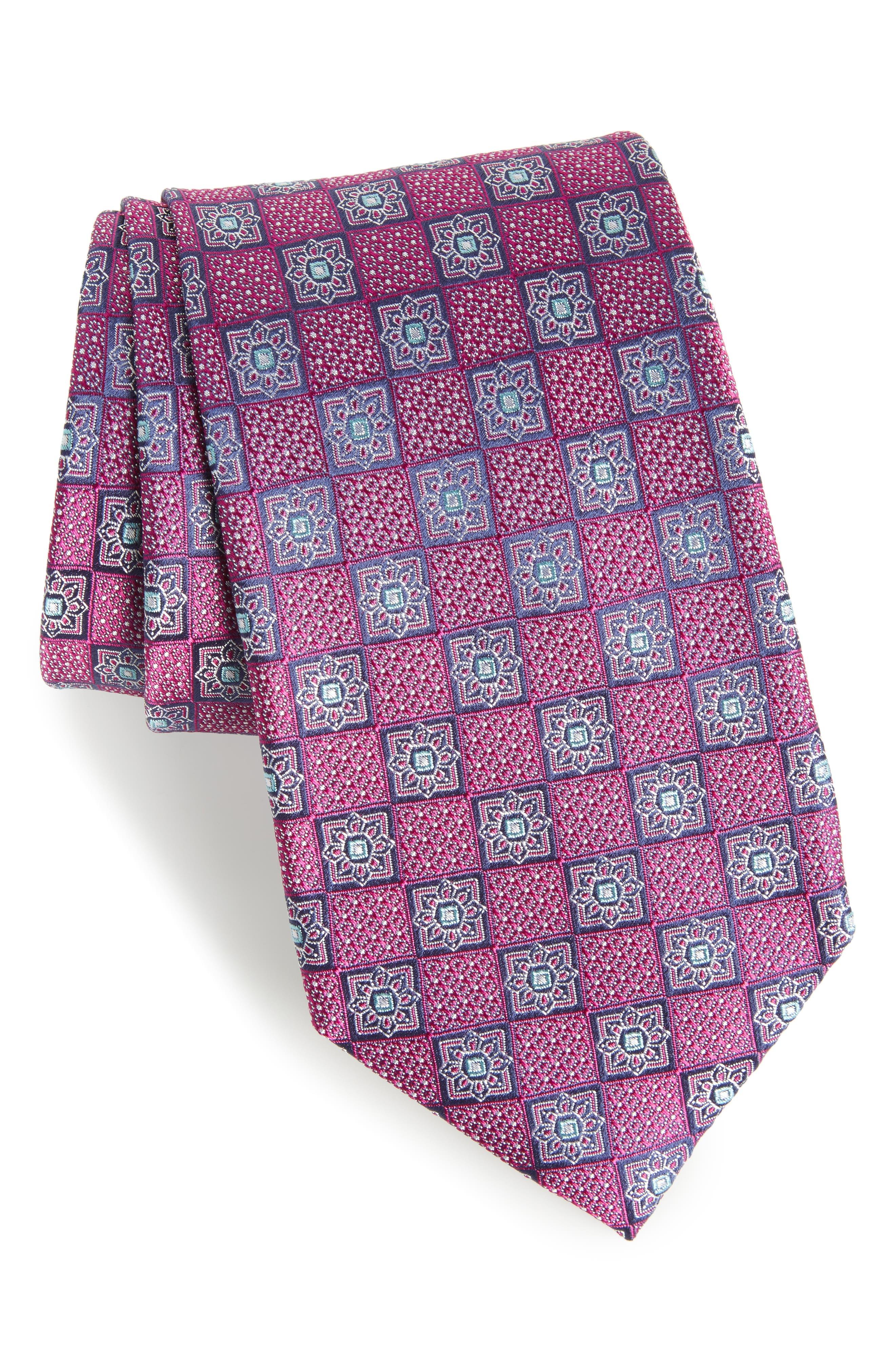 Settala Medallion Silk Tie,                         Main,                         color, Magenta