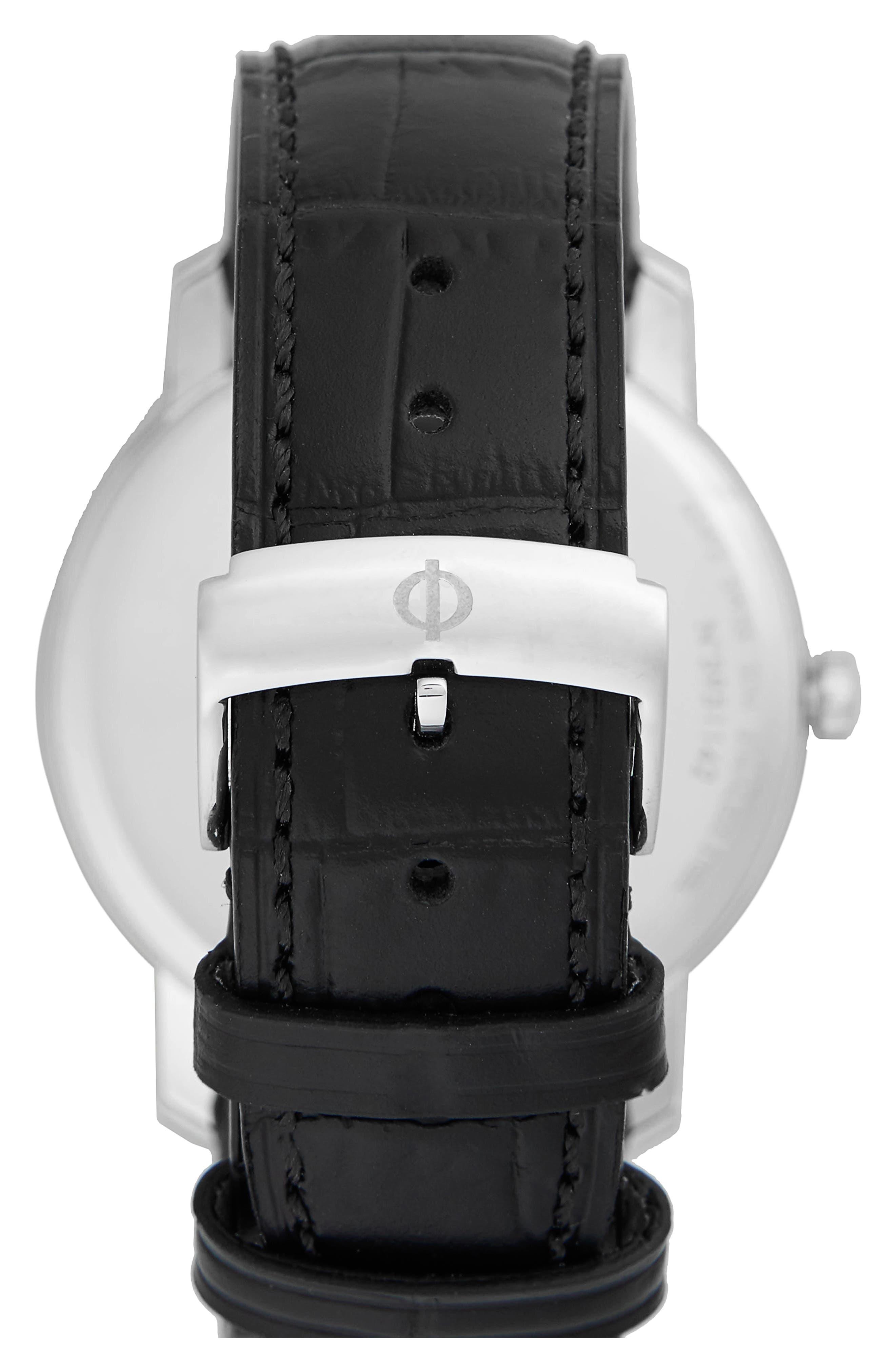 Baume & Mercier Classima Leather Strap Watch, 42mm,                             Alternate thumbnail 2, color,                             Silver/ Black