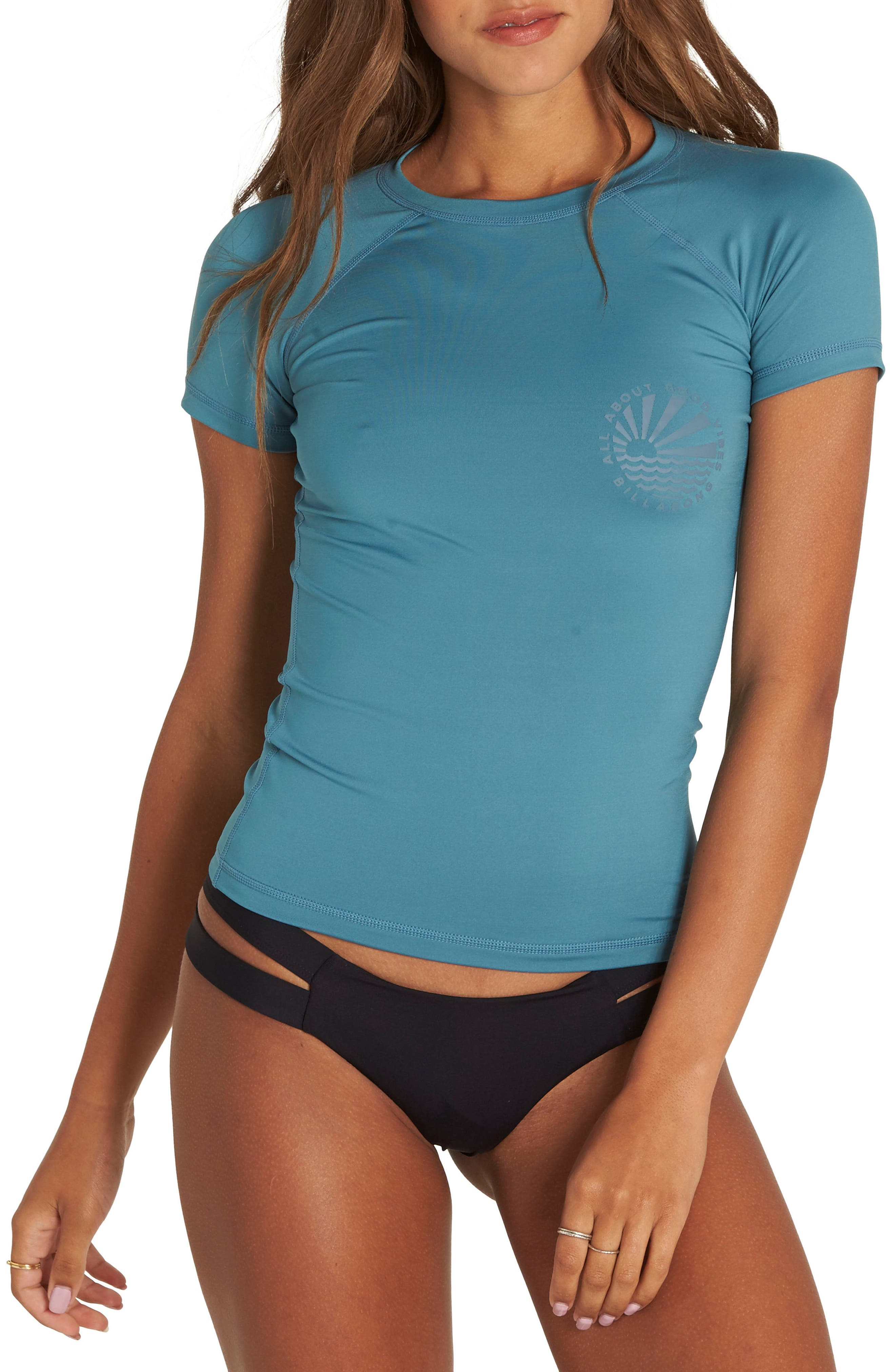 Sol Searcher Short Sleeve Rashguard,                         Main,                         color, Blue Wave